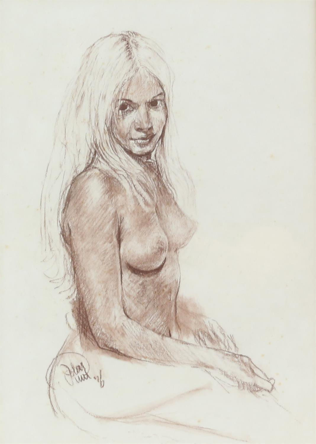 John Uht (British, b. 1924). 'Blonde Seated Nude'. Pastel 1976. Signed and dated lower left.