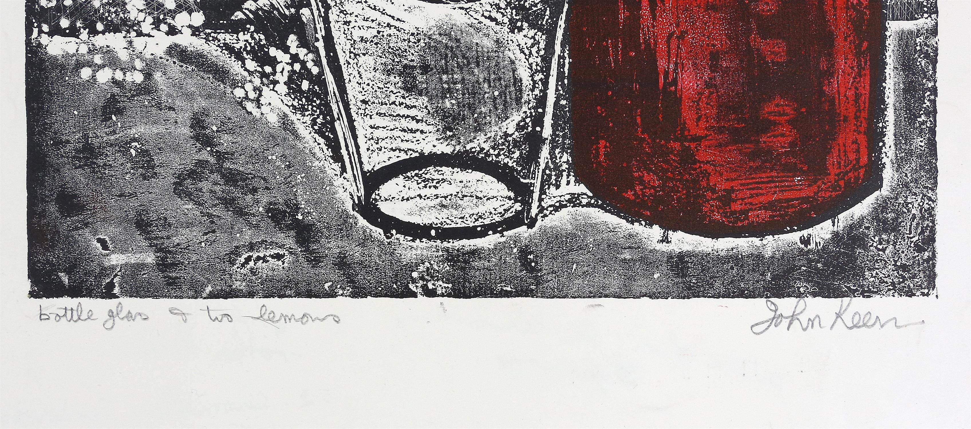 John Keen (British, 1924-2019). 'Bottle Glass & Two Lemons', print in colours, signed and titled. - Image 3 of 3