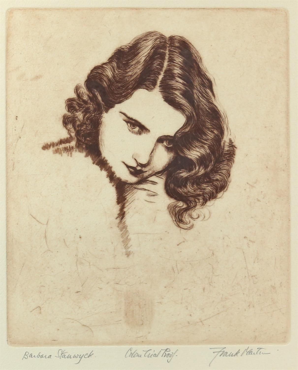 Frank Martin, British 1921-2005, 'Barbara Stanwyck', colour trial proof, signed in the margin,