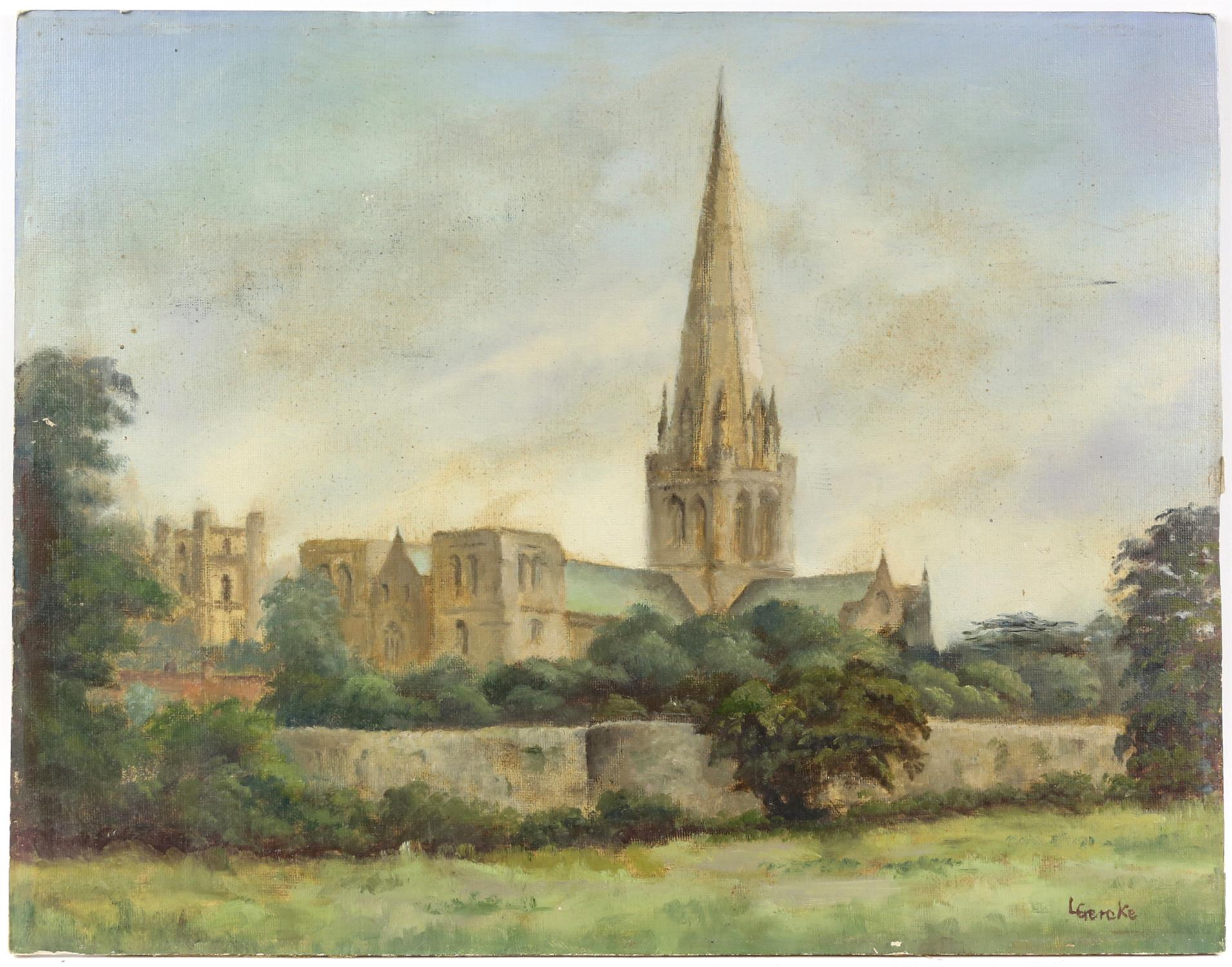 Lawrence Gercke, Chichester Cathedral, oil on canvas board, signed. 35 x 45cm. Along with a