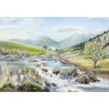 J. Rogers. 'Snowdonia', pastel on paper, signed lower right and titled (under mounting board),