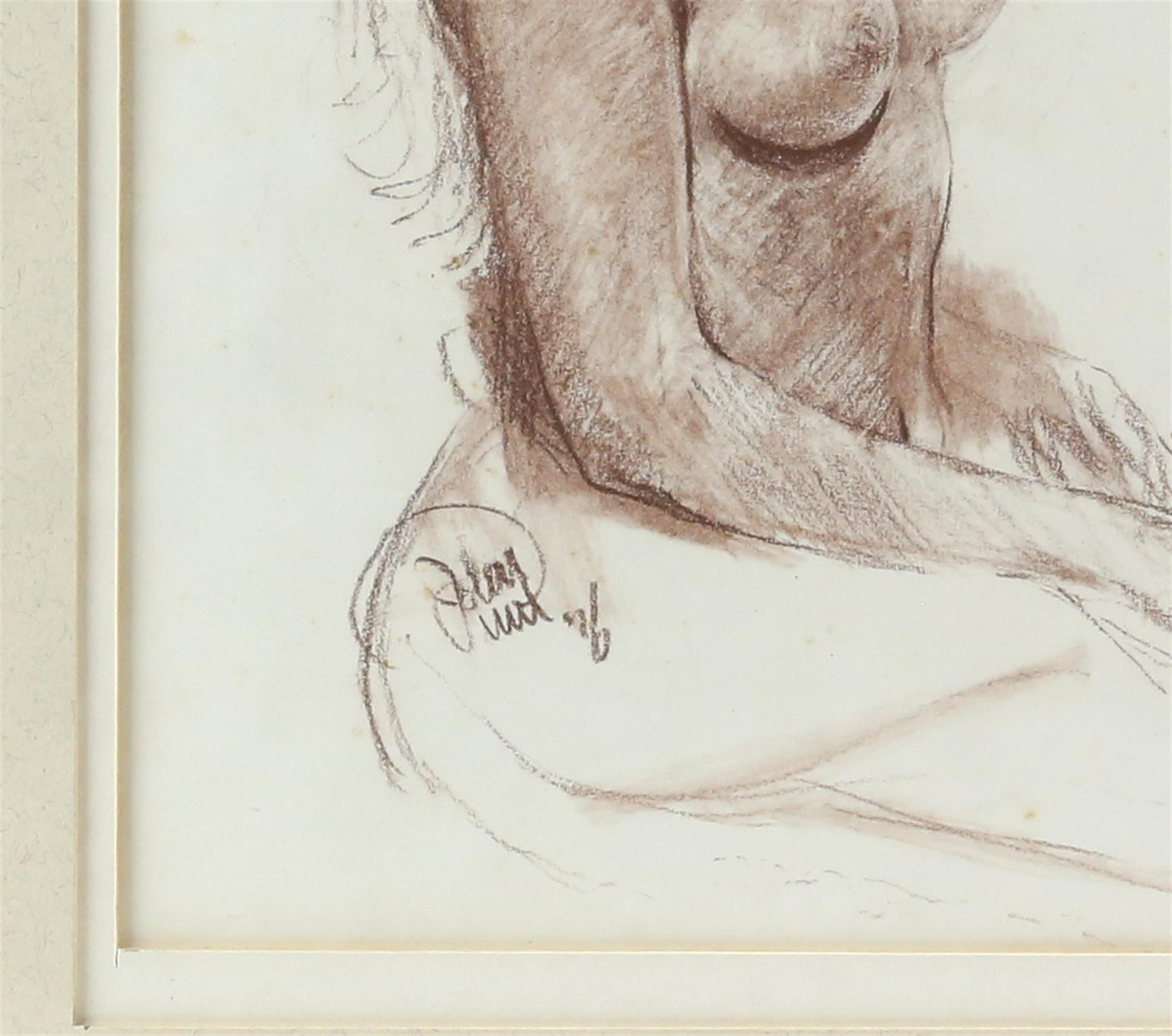 John Uht (British, b. 1924). 'Blonde Seated Nude'. Pastel 1976. Signed and dated lower left. - Image 3 of 3