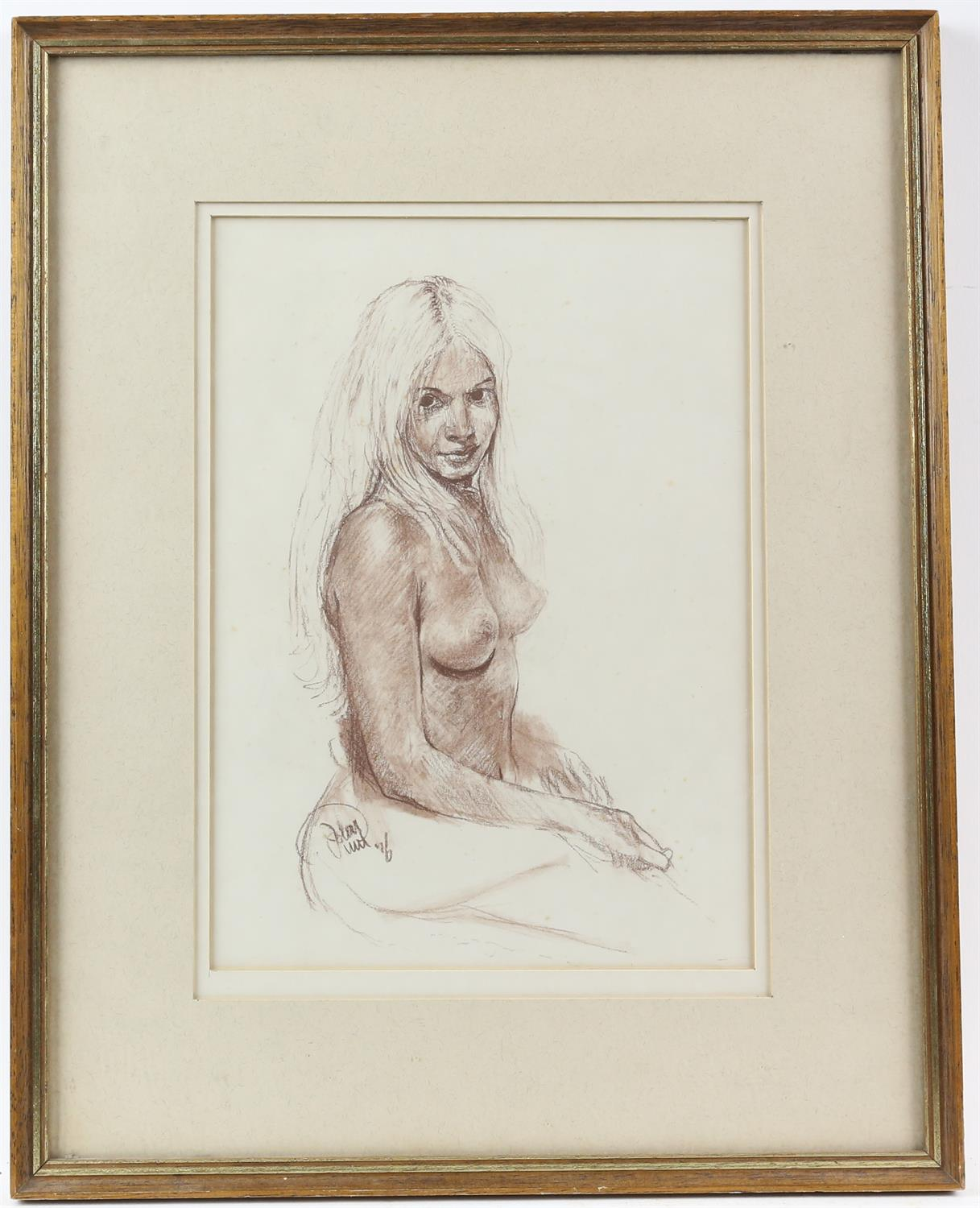 John Uht (British, b. 1924). 'Blonde Seated Nude'. Pastel 1976. Signed and dated lower left. - Image 2 of 3