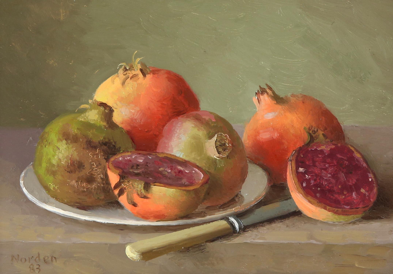 Gerald Norden (British,1912-2000). 'Pomegranates'. Oil on board 1983. Signed lower left.