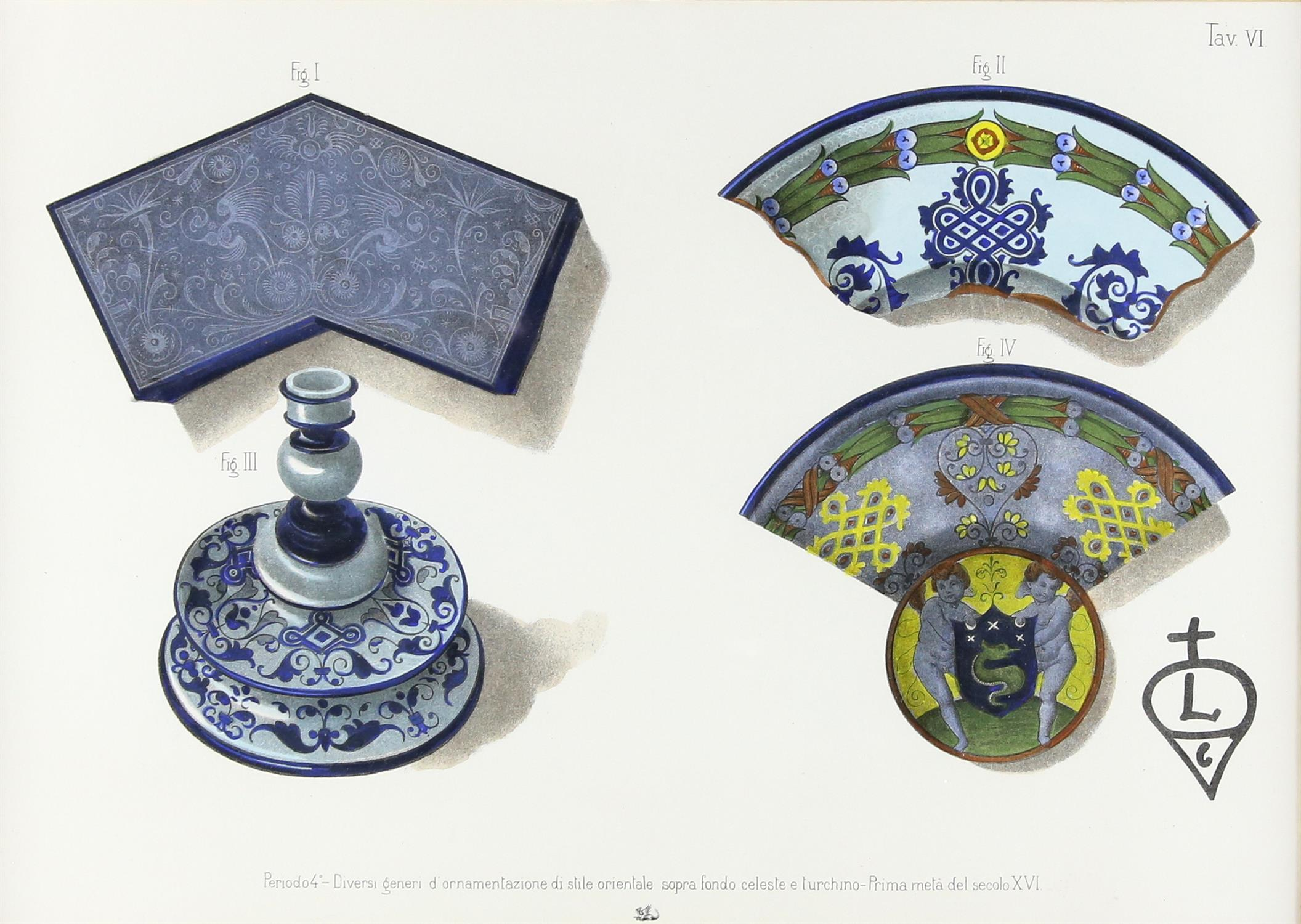 Five contemporary Italian lithographs, depicting ceramics of various Italian origins, - Image 8 of 10