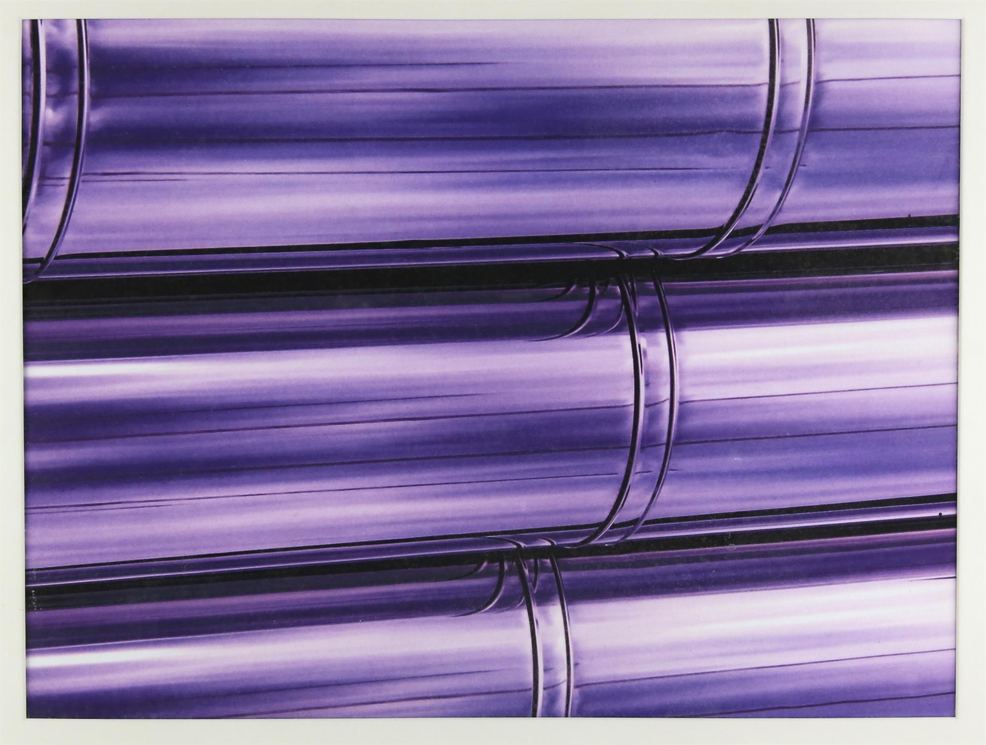 Lever, 'Chrome Stacks'. Three abstract lithographs in purple. Image size 35 x 46cm each.