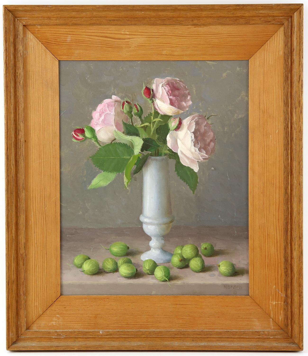 Gerald Norden (British,1912-2000). 'Roses and Gooseberries. Oil on panel. 1981. Signed and dated - Image 2 of 2