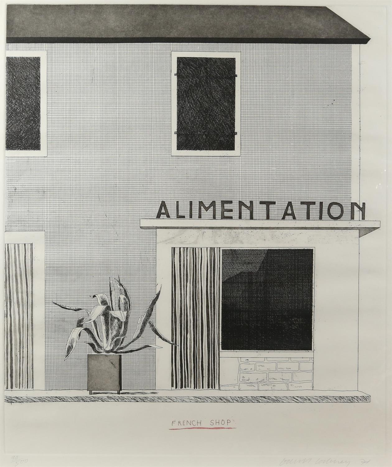 § David Hockney (British, b.1937). 'French Shop', etching and aquatint, signed and dated '71 in