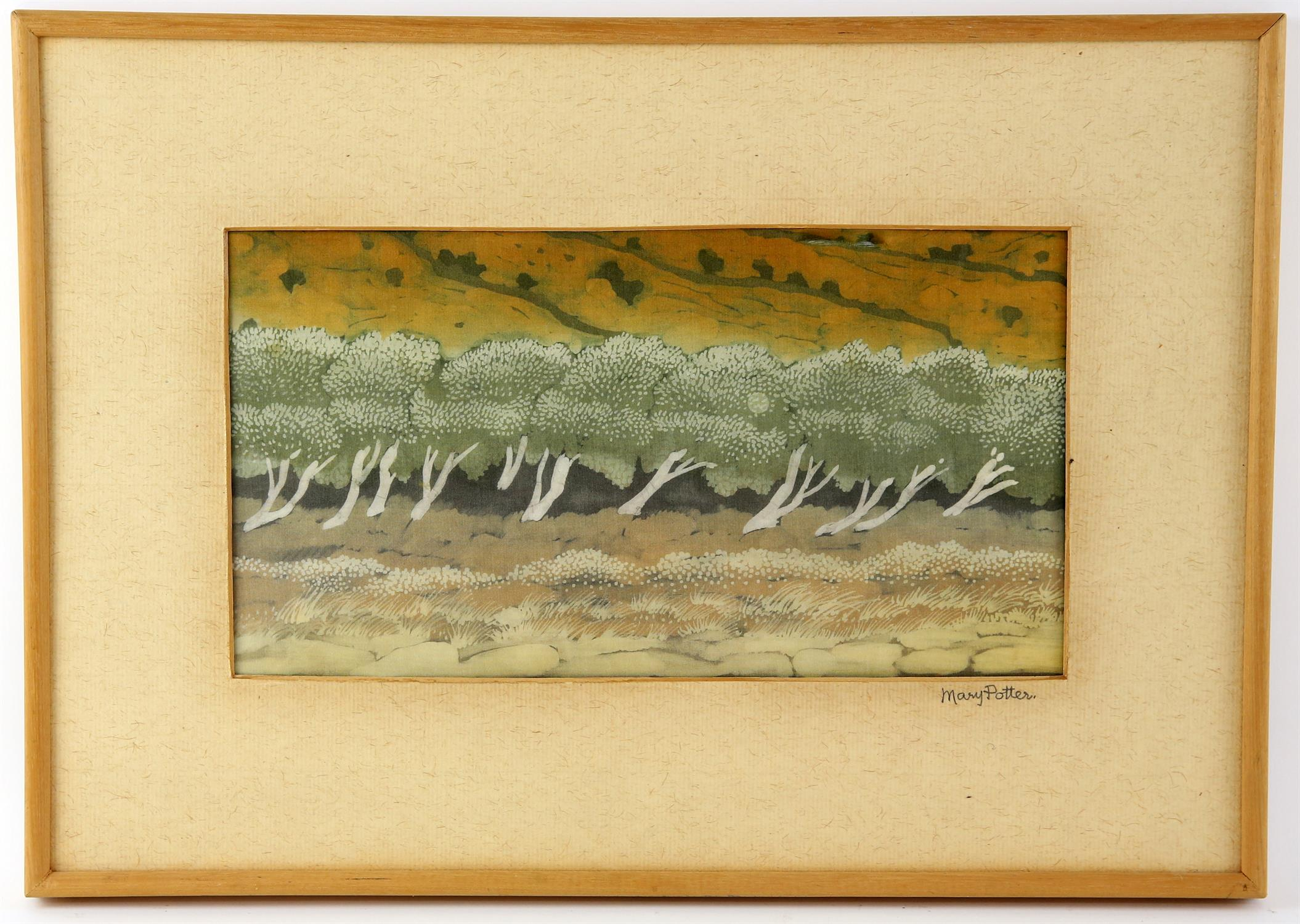 After Mary Potter, reproduction print on silk, 'Wind In The Olive Trees', framed and mounted with - Image 2 of 2