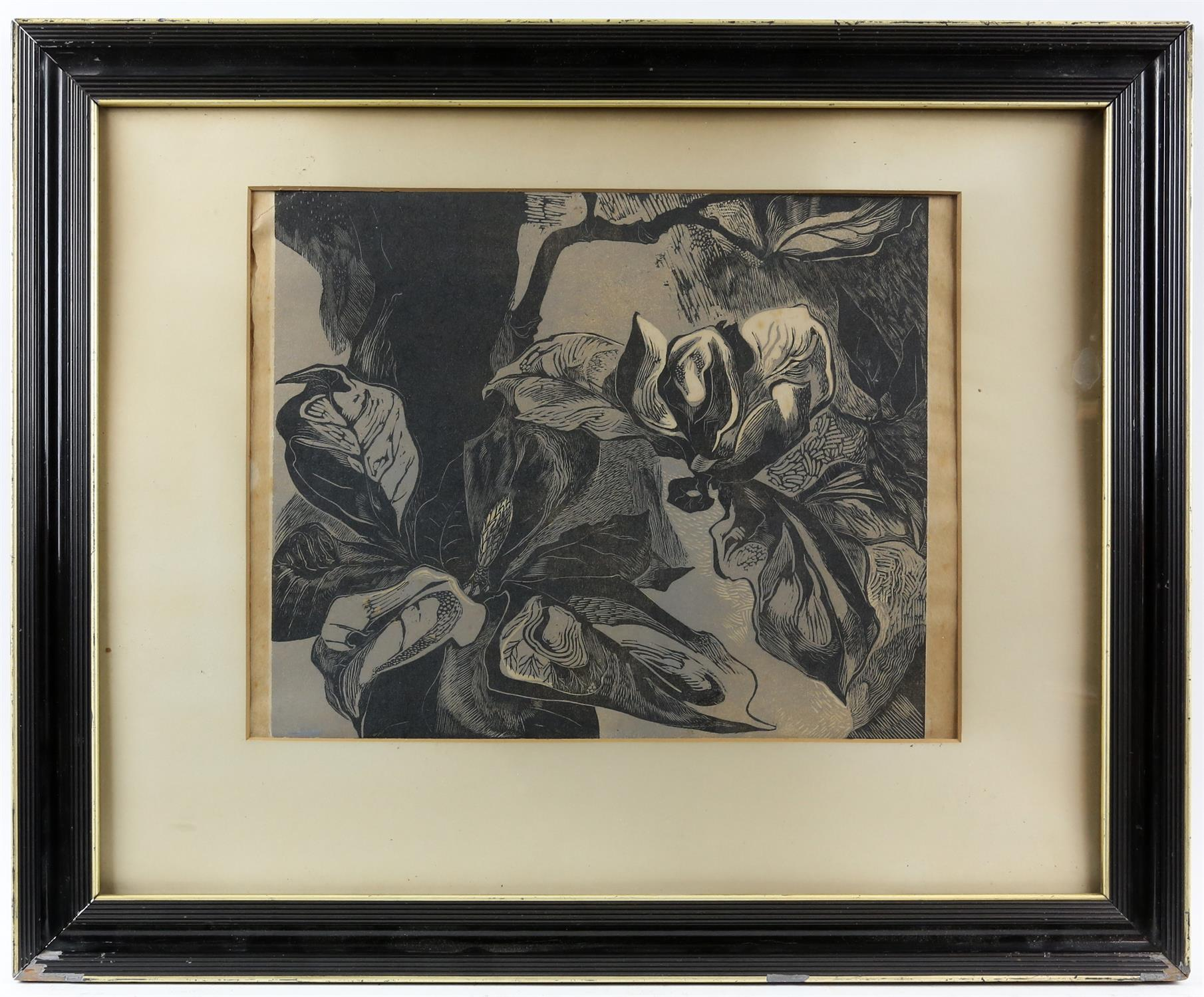 Woodcut print of Magnolias, unsigned, c1950's, 30.5 x 26cm. Framed and glazed. - Image 2 of 3