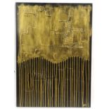 Piero Montanelli, 20th/21st century, abstract composition, black on gold, signed with initials and