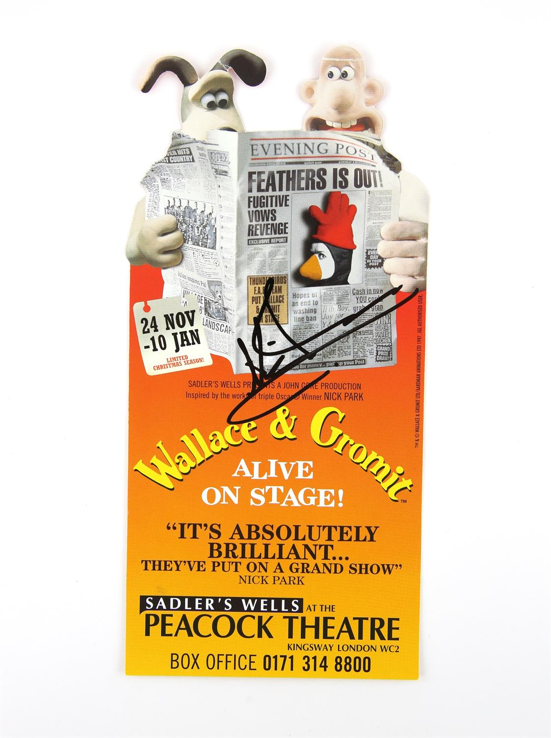 Nick Park - Aardman Animations 'Wallace & Gromit Alive On Stage!' - autographed leaflet for the