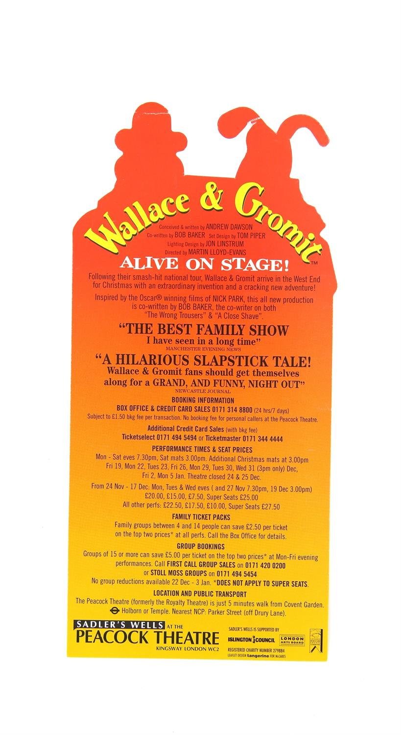 Nick Park - Aardman Animations 'Wallace & Gromit Alive On Stage!' - autographed leaflet for the - Image 2 of 3
