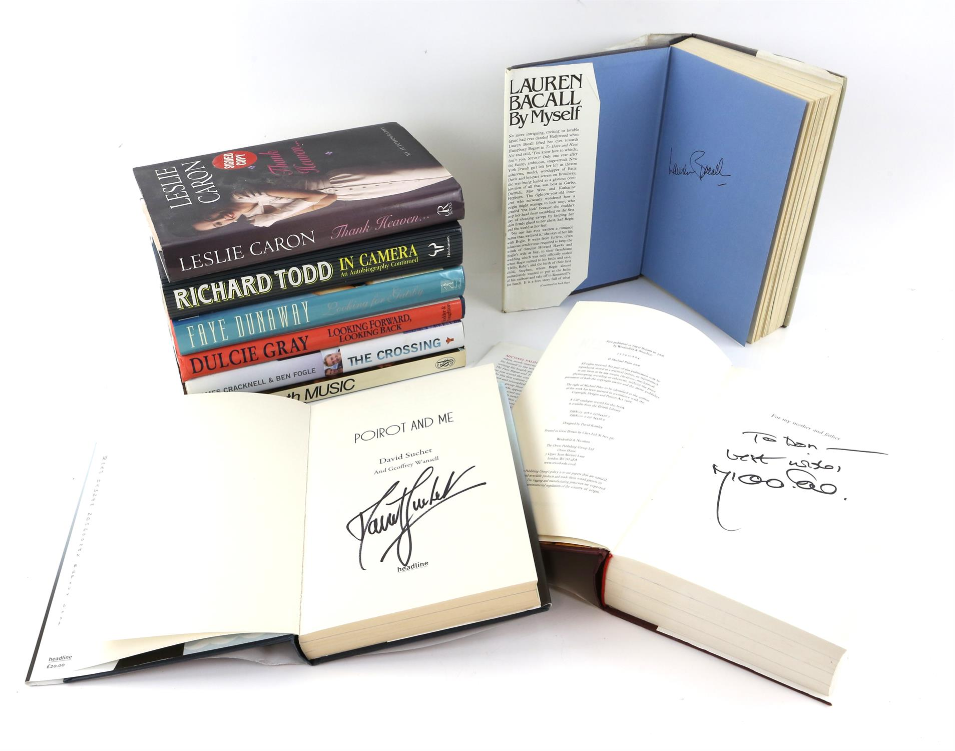 9 autographed books signed by Lauren Bacall, Richard Todd, Michael Palin, Leslie Caron,