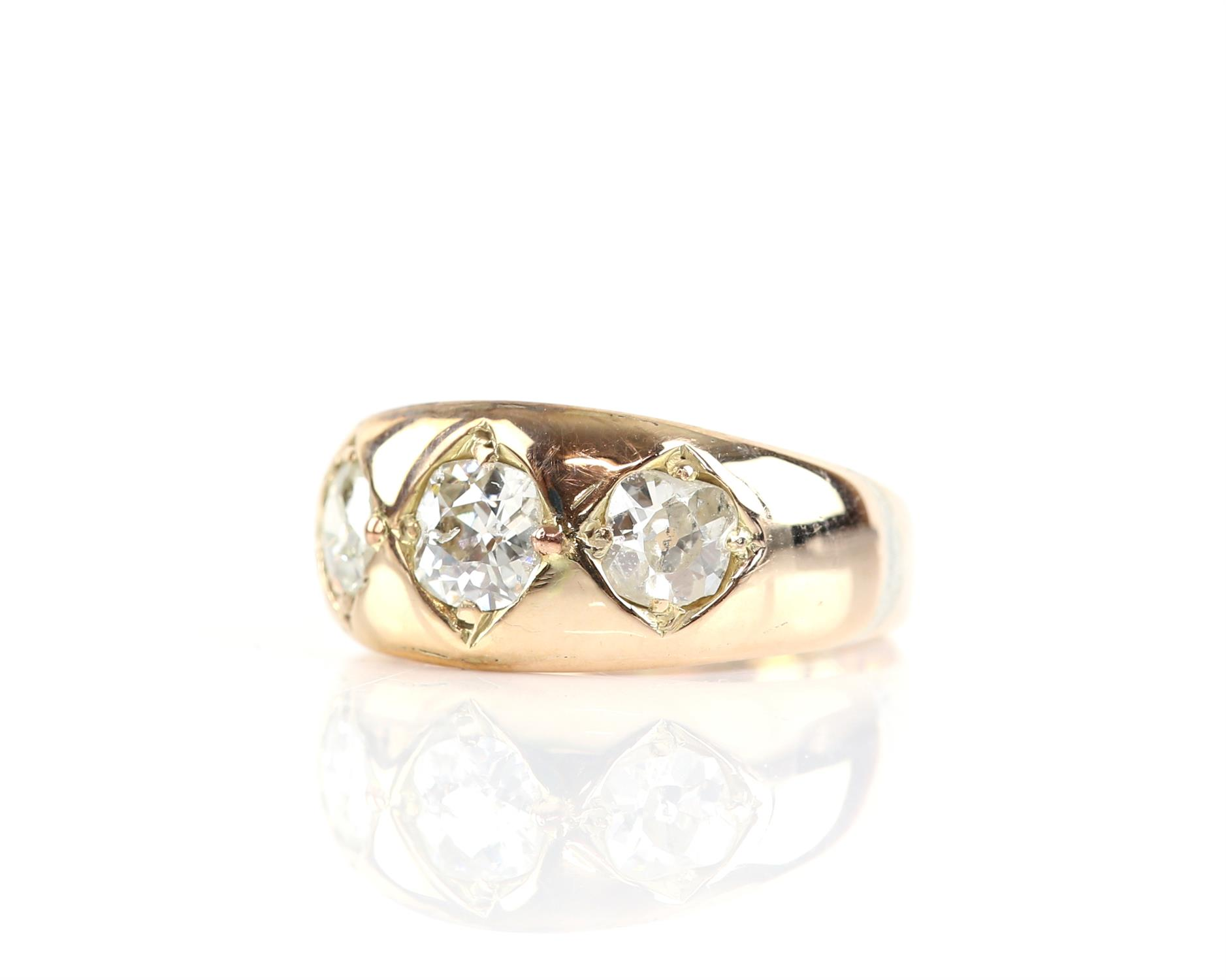 Victorian gypsy ring with three old mine cut diamonds, central diamond is 0.52 carat and the side - Image 2 of 4