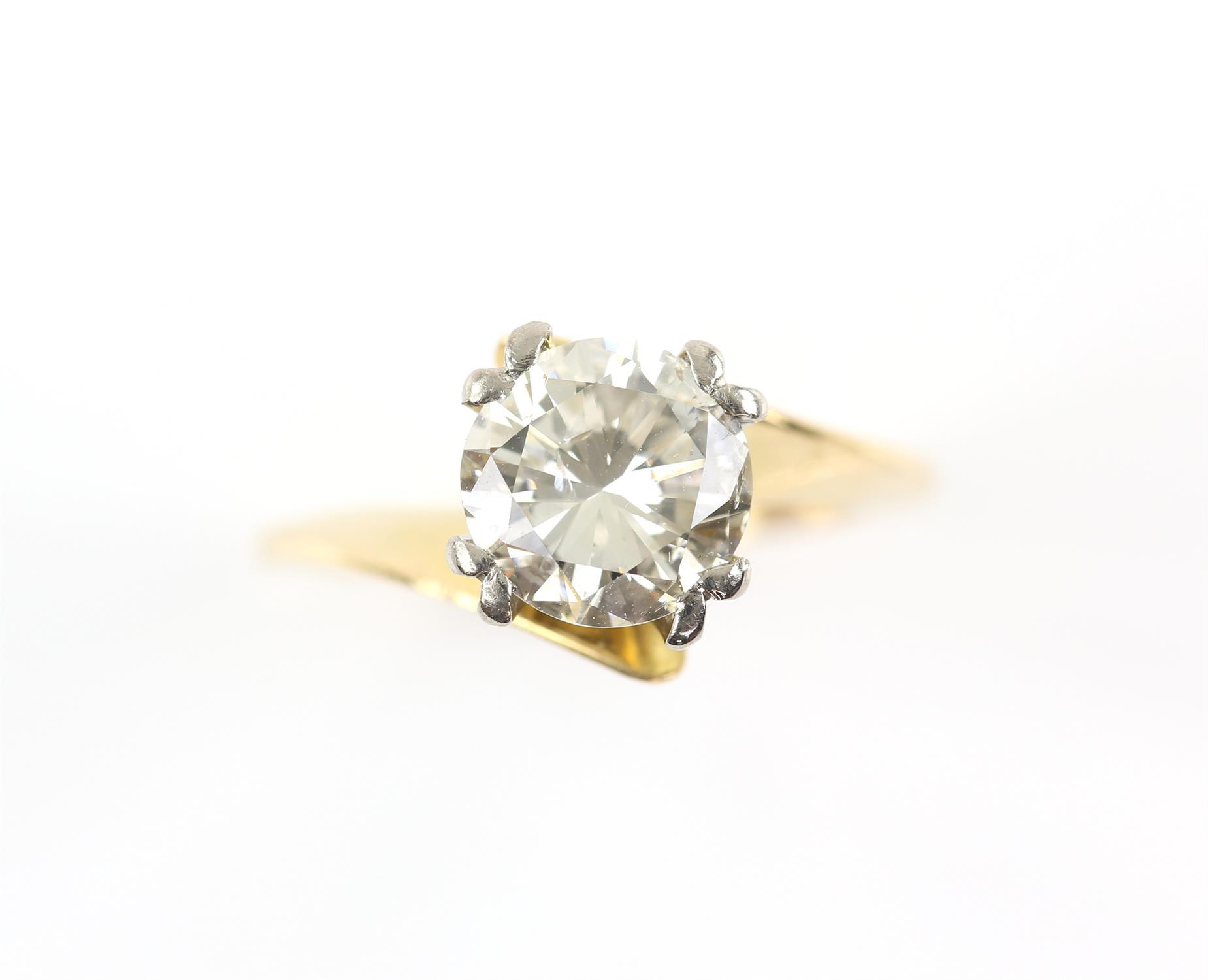 Single stone diamond ring, round brilliant cut diamond weighing an estimated 2.02 carats,