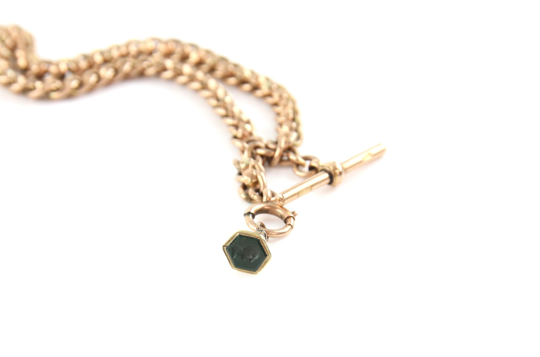Early 20th Century Albert chain with fancy faceted links, two swivel clasps, t-bar and small - Image 2 of 2
