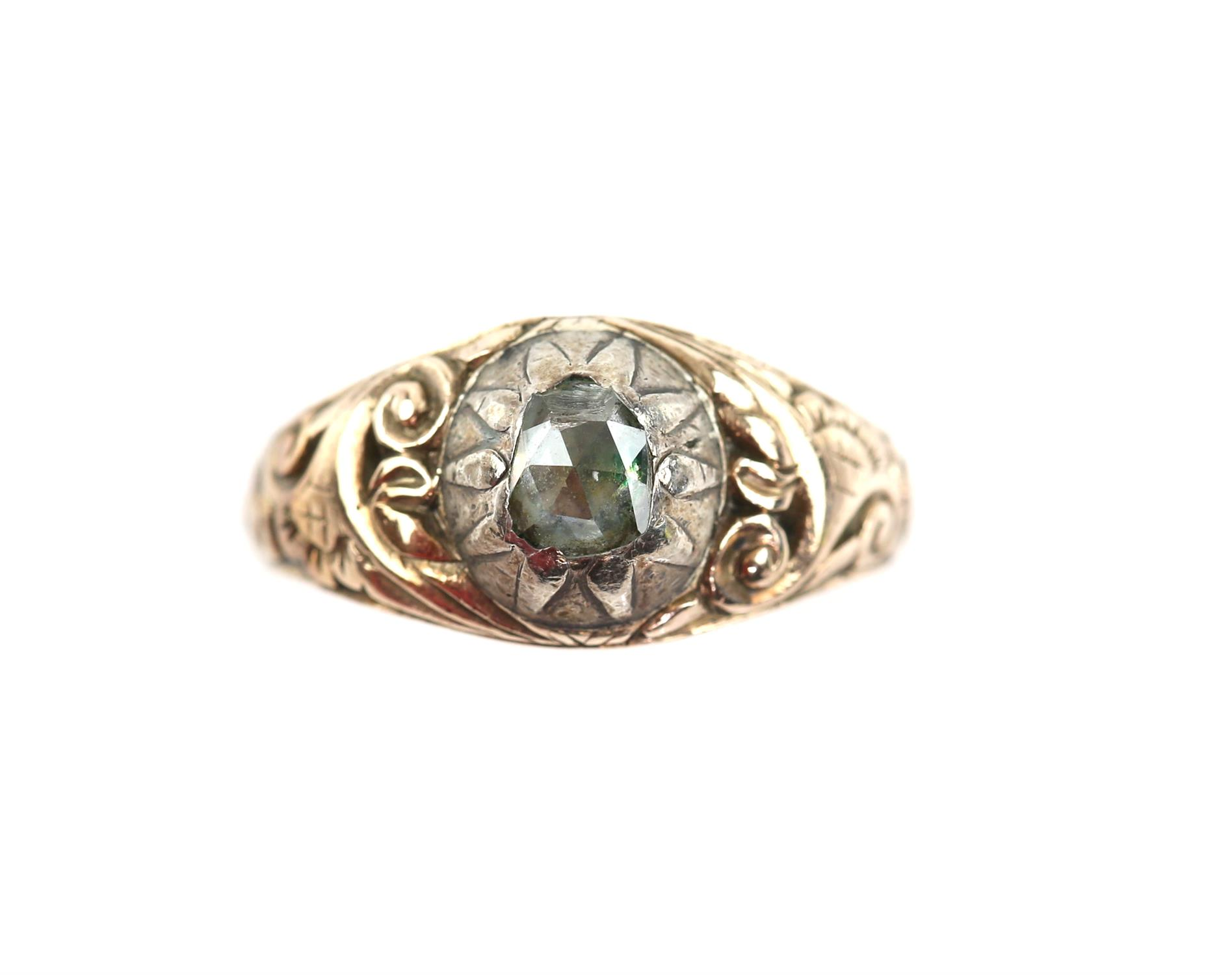 Antique ring, set with a foil backed rose cut diamond, diamond measuring 5.1 x 4.