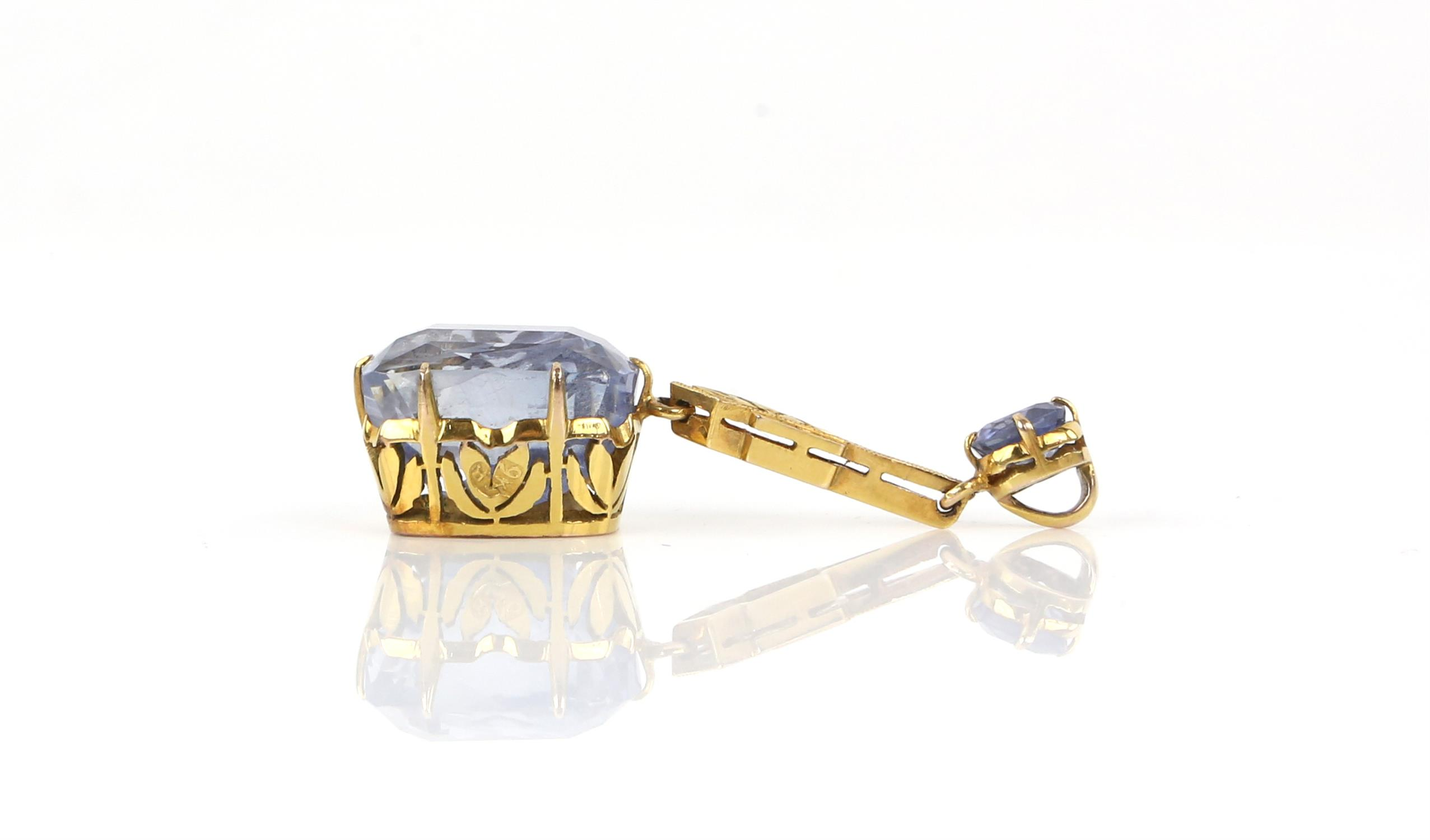 Sapphire drop pendant, principal light blue sapphire, estimated weight 12.99 carats, - Image 4 of 8