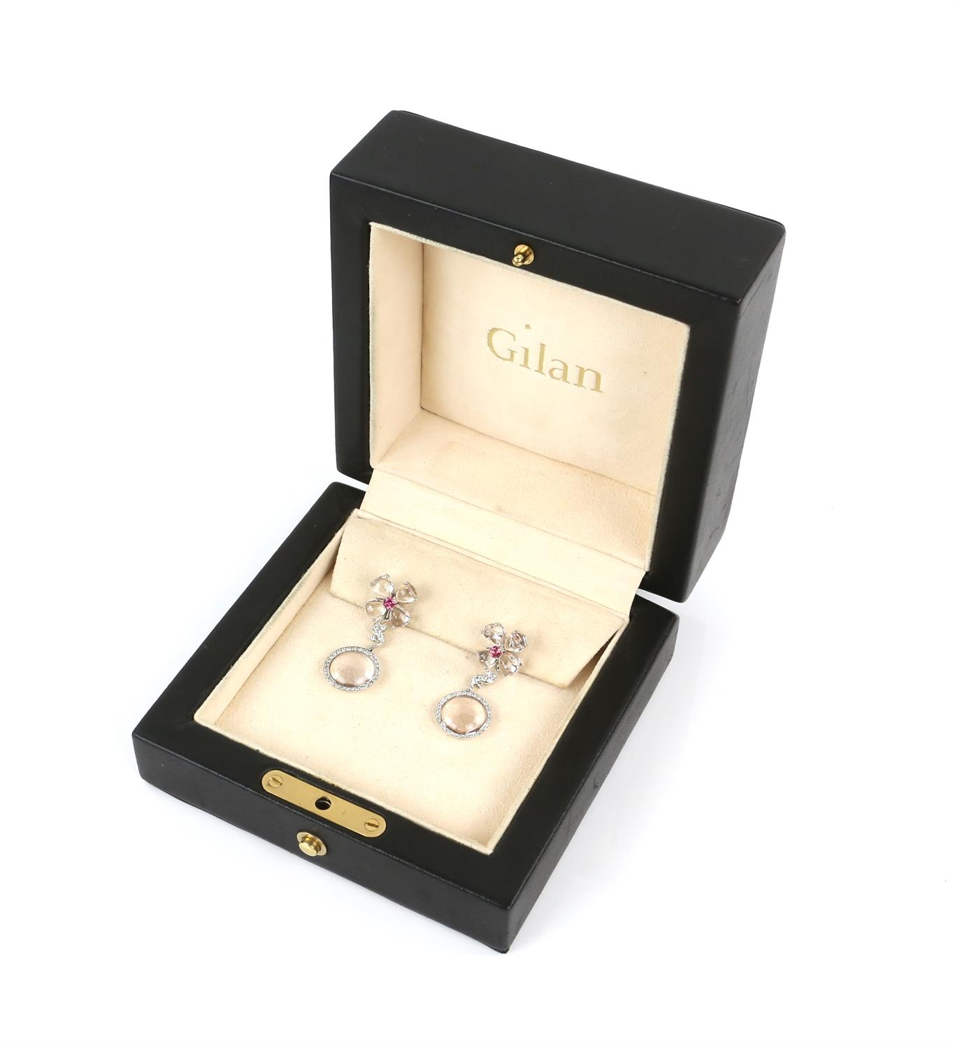 Pair of Gilan drop earrings, designed as a floral motif with a central synthetic pink spinel, - Image 4 of 5