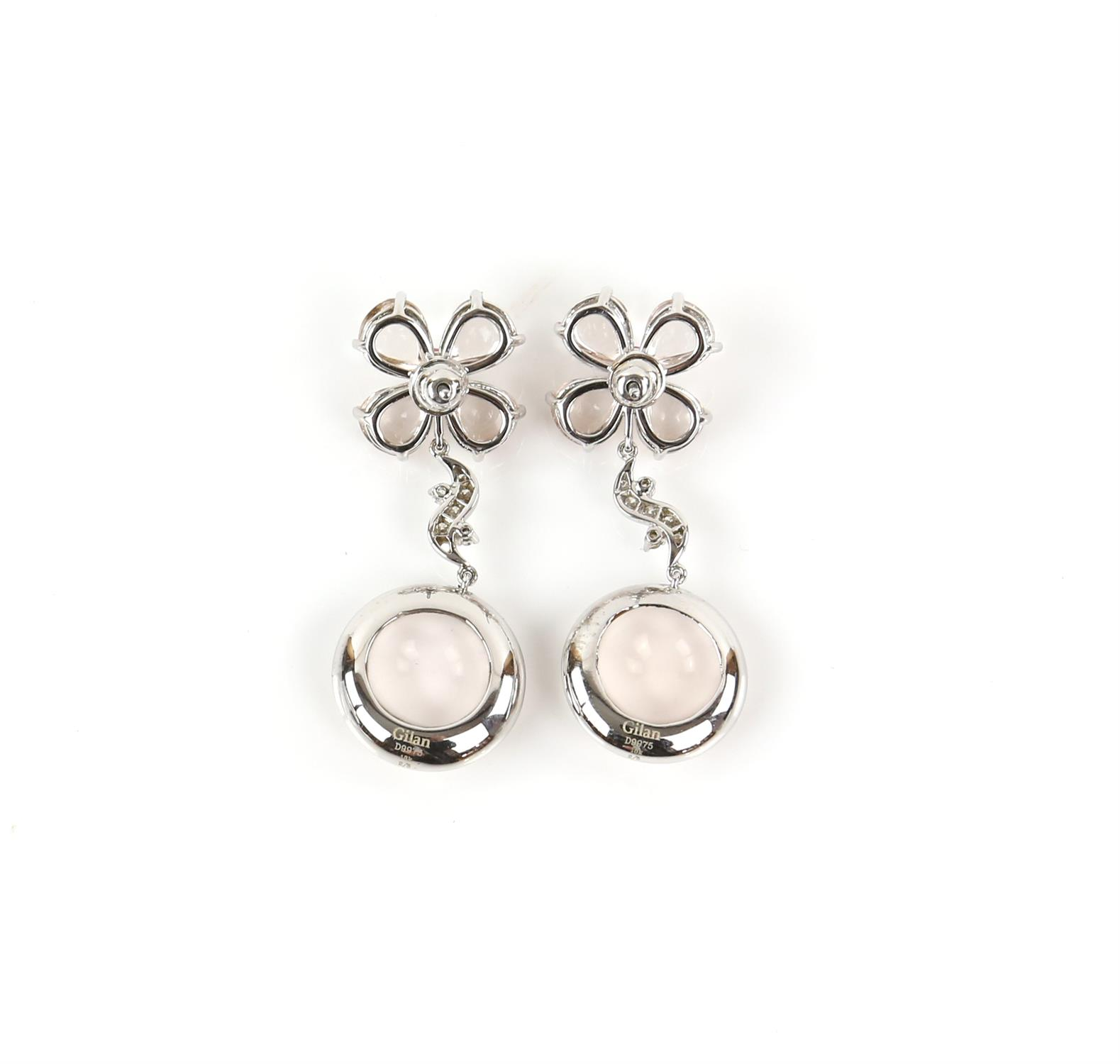 Pair of Gilan drop earrings, designed as a floral motif with a central synthetic pink spinel, - Image 3 of 5