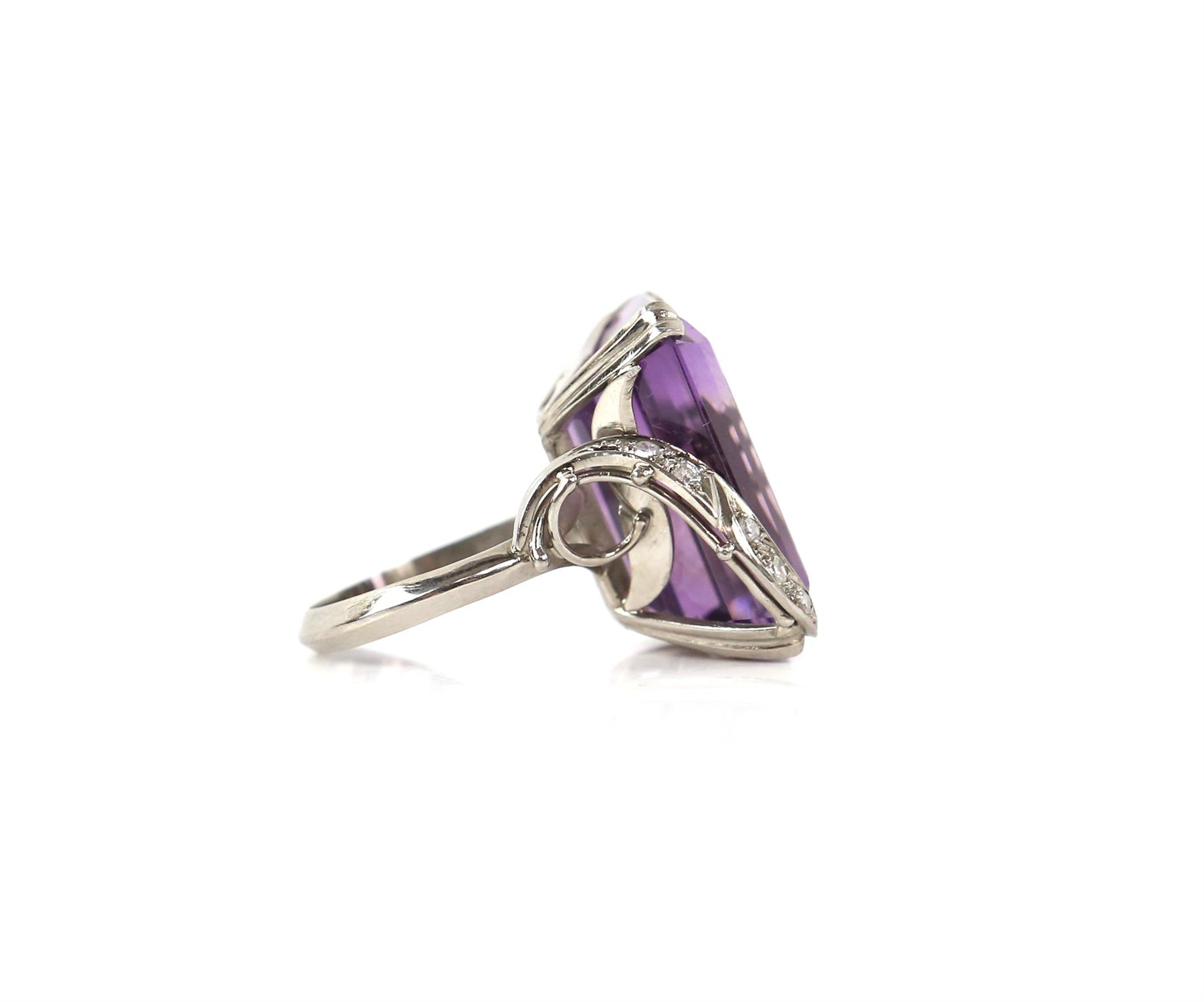 Amethyst and diamond cocktail ring, central rectangular cut amethyst, estimate weight 22.78 carats, - Image 5 of 7