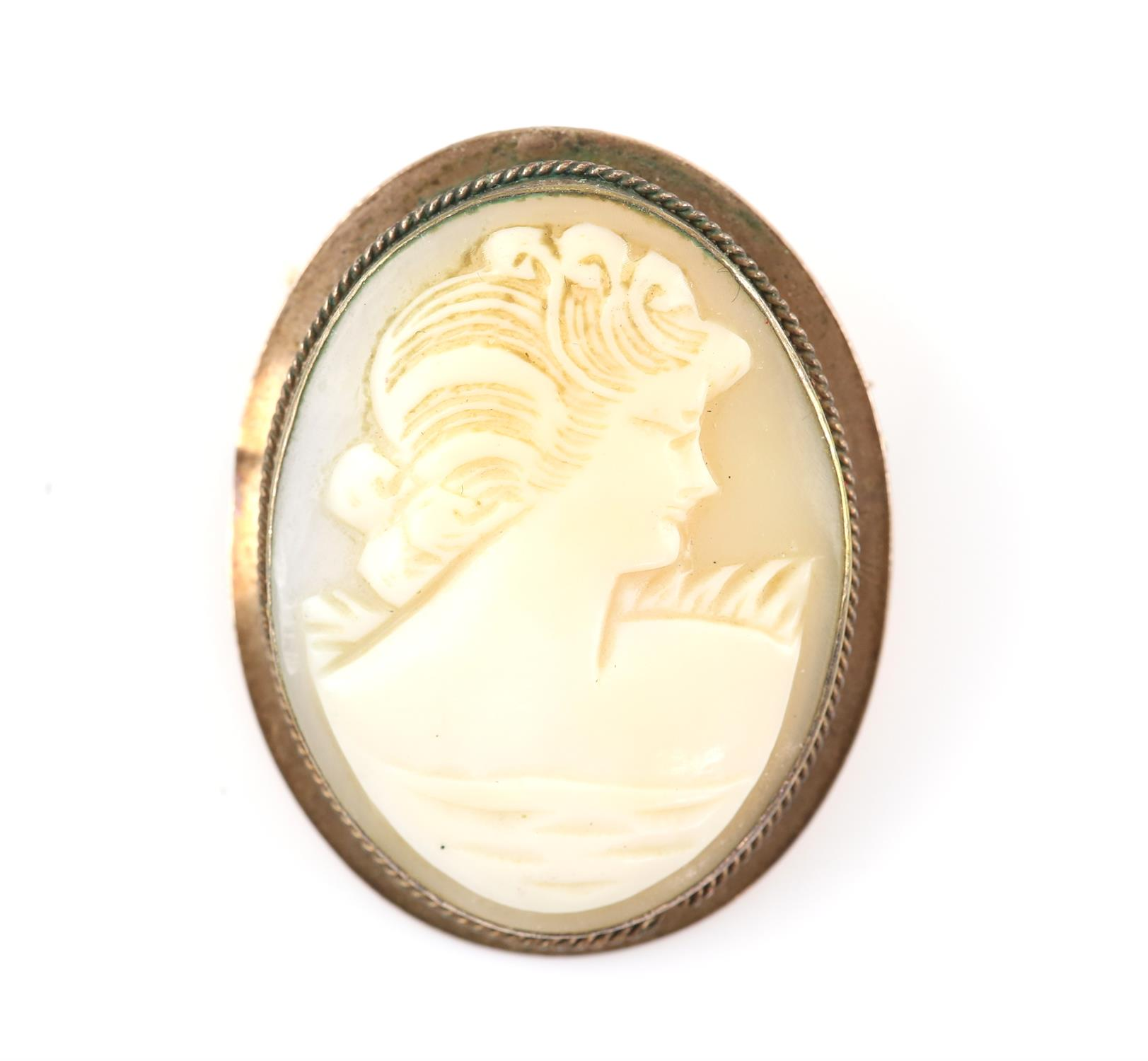 Cameo brooch, depicting the profile of a lady, in a tested 9 ct mount, with safety chain
