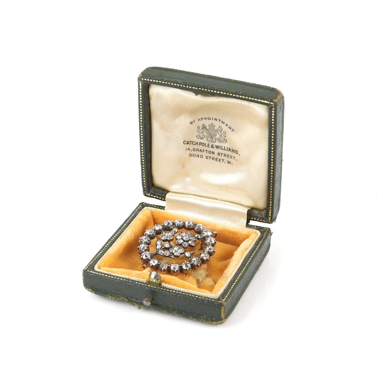 19th C floral diamond brooch, surround set with eighteen old Peruzzi cut diamonds brooch and twenty - Image 3 of 4