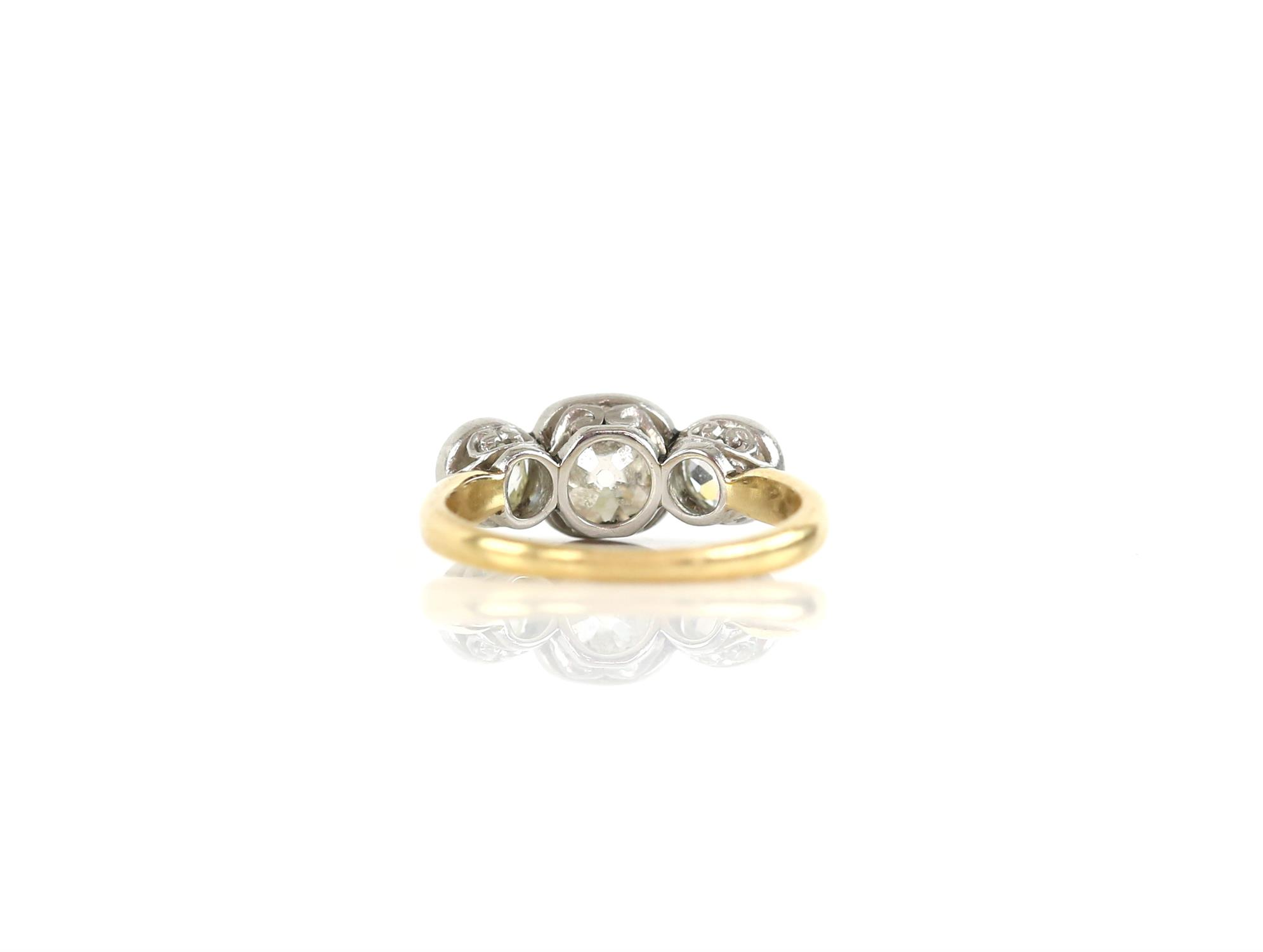 Old mine cut diamond ring, central stone estimated weight 1.20 carats, the side stone have an - Image 2 of 3