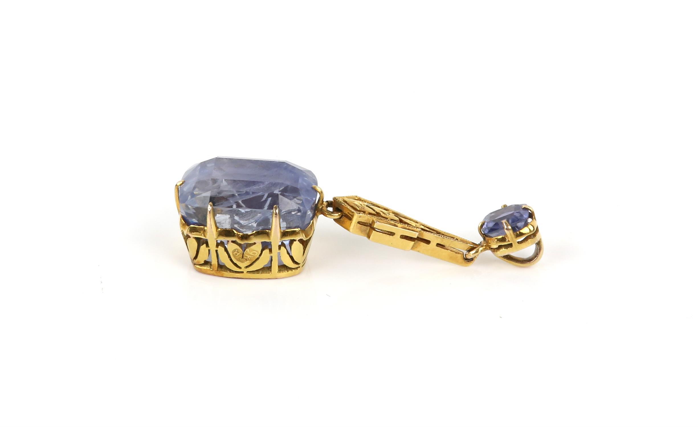 Sapphire drop pendant, principal light blue sapphire, estimated weight 12.99 carats, - Image 7 of 8