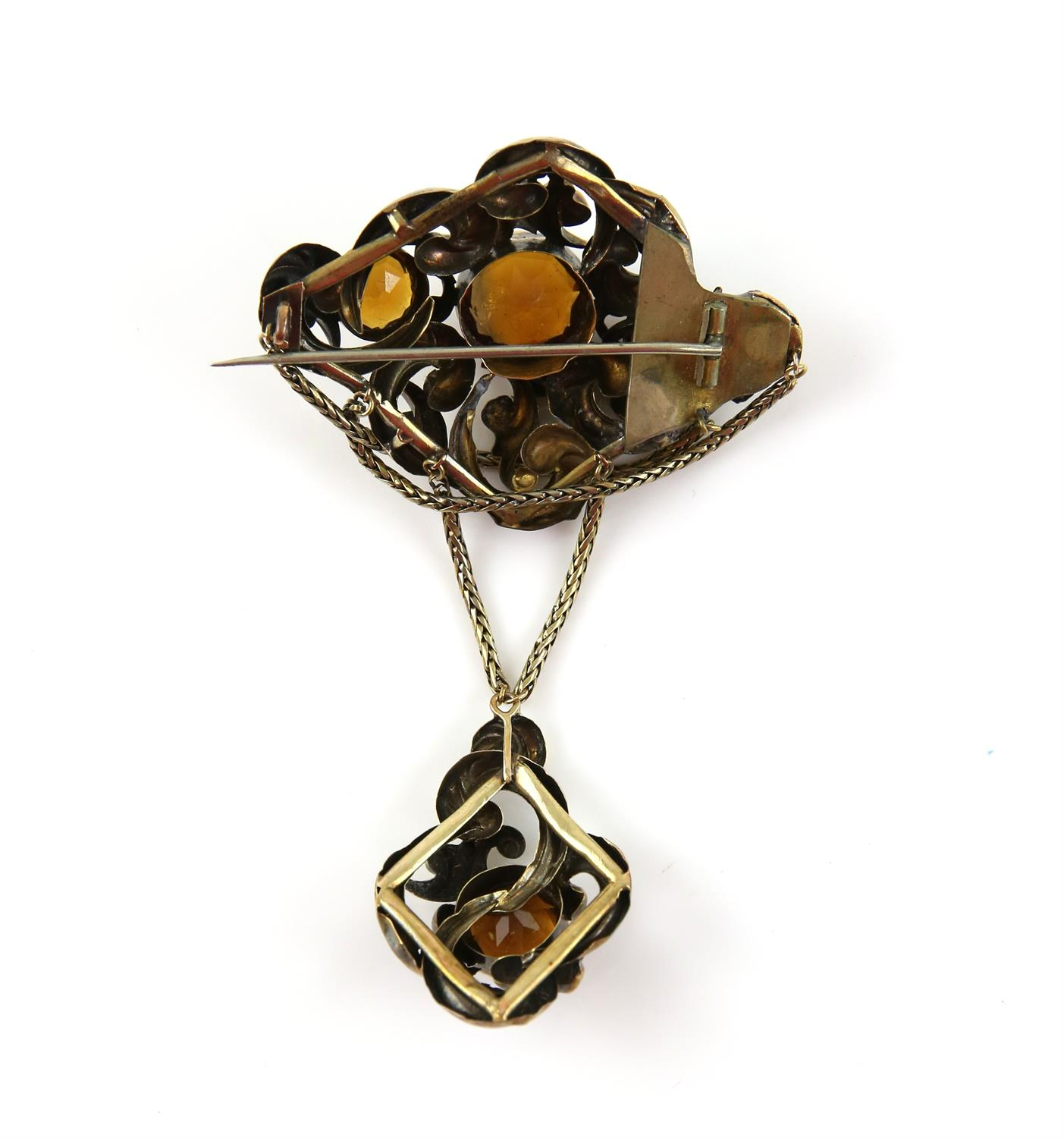 Victorian citrine drop brooch, designed as an ornate openwork brooch, set with three round cut - Image 2 of 2