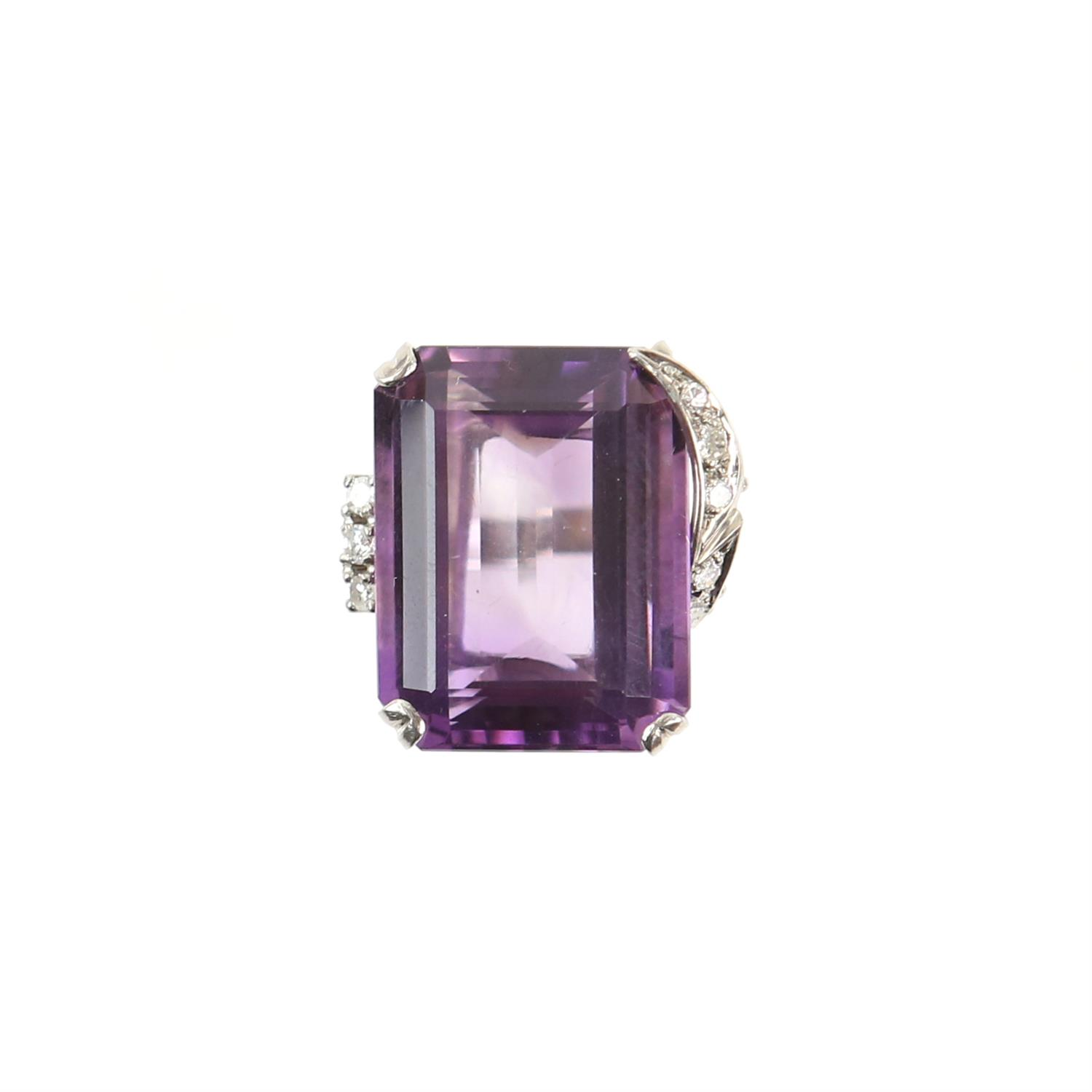Amethyst and diamond cocktail ring, central rectangular cut amethyst, estimate weight 22.78 carats, - Image 2 of 7