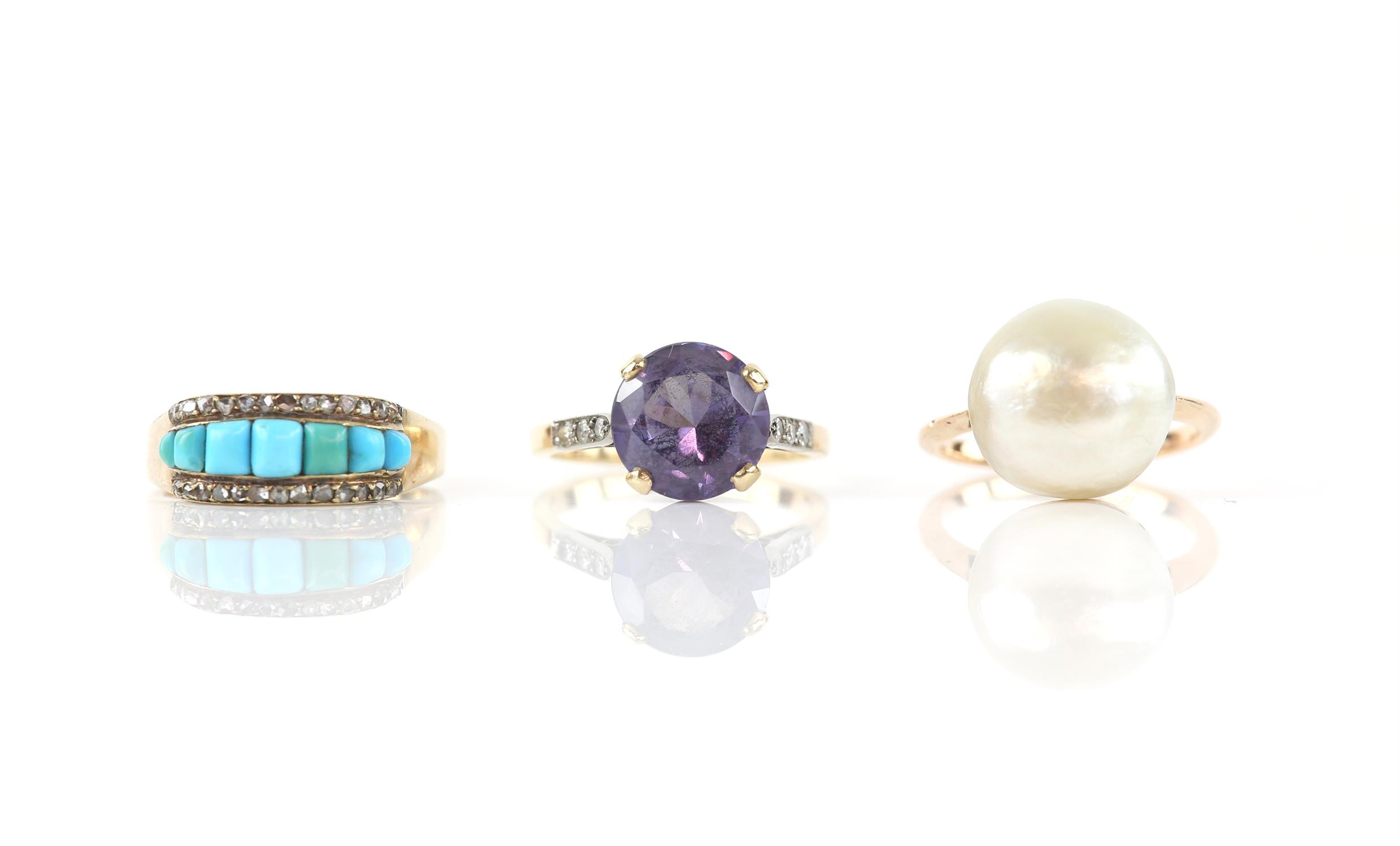 Three rings including, a turquoise diamond ring with rose cut diamond, size M, a pearl ring,