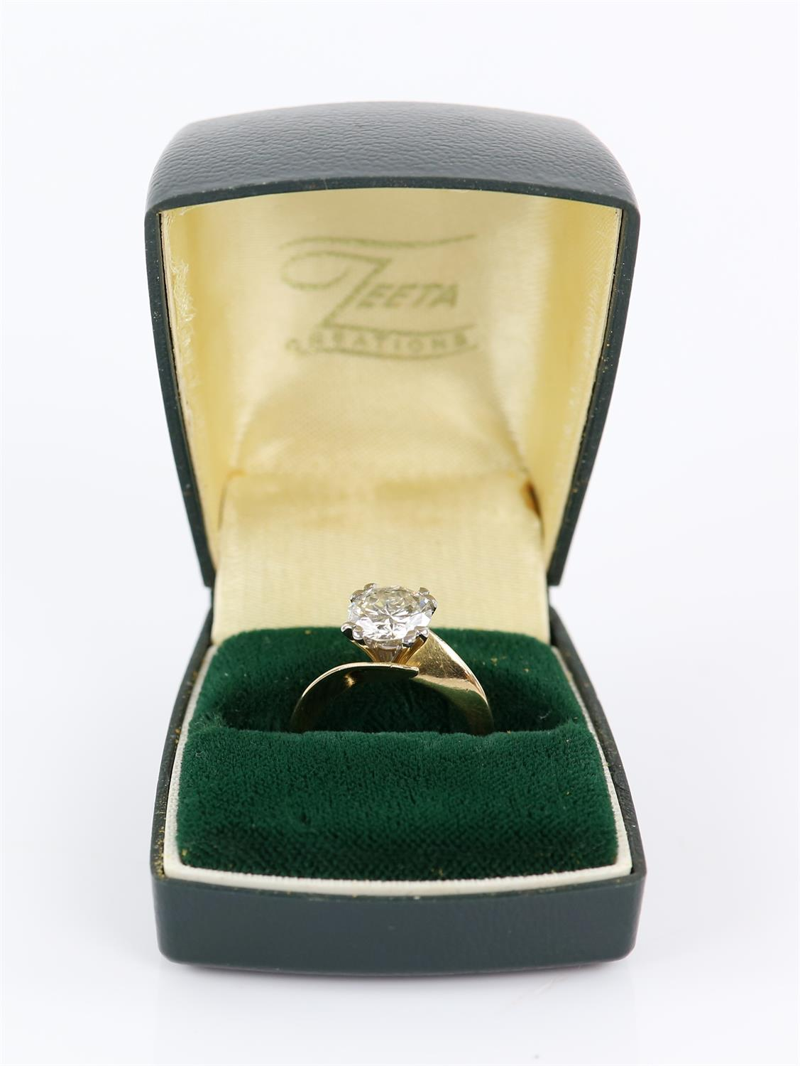 Single stone diamond ring, round brilliant cut diamond weighing an estimated 2.02 carats, - Image 6 of 6