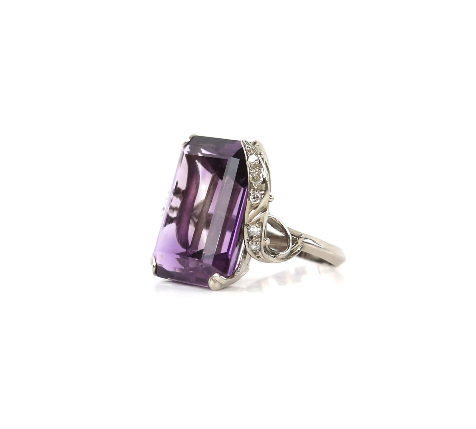 Amethyst and diamond cocktail ring, central rectangular cut amethyst, estimate weight 22.78 carats, - Image 3 of 7