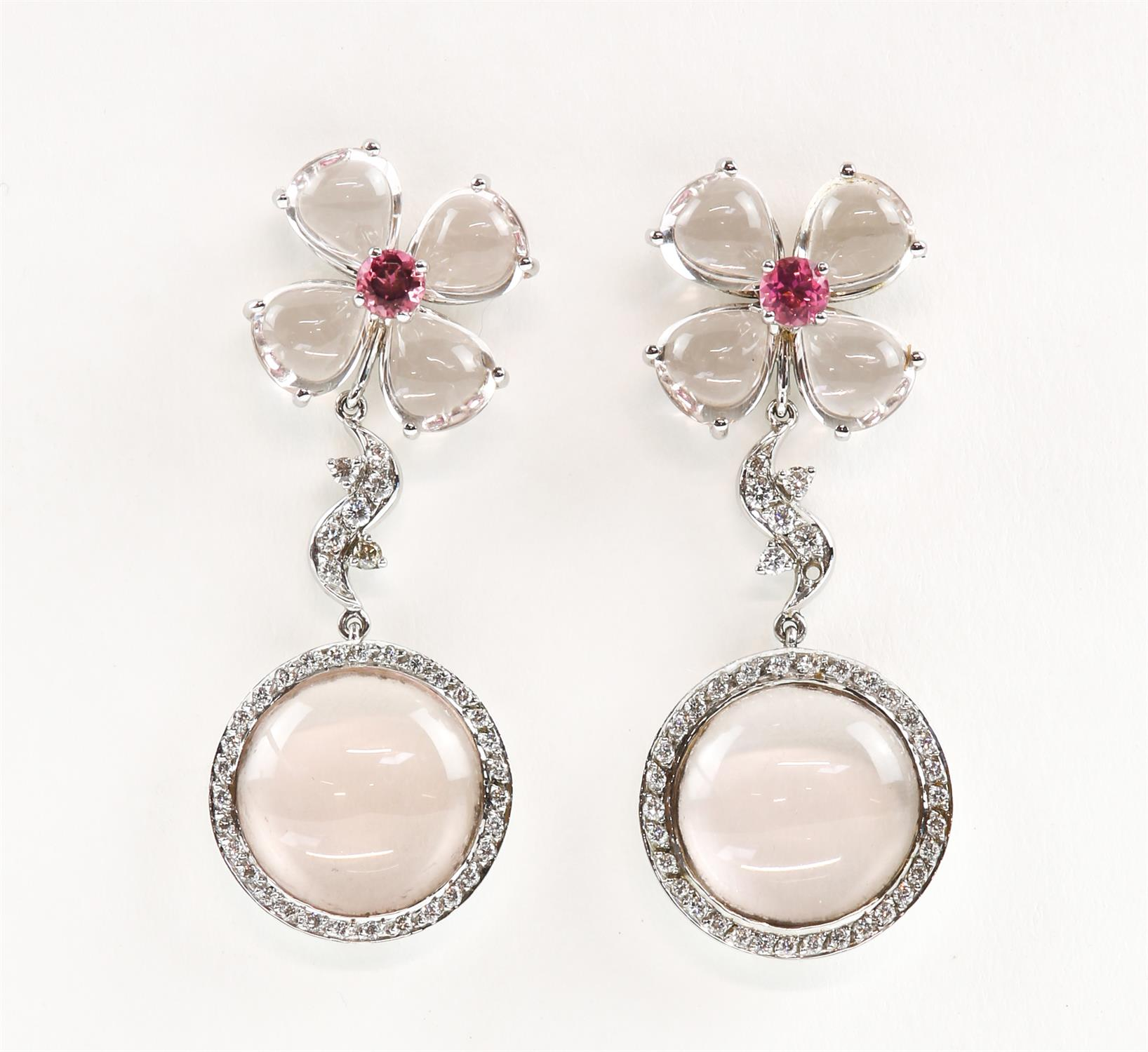 Pair of Gilan drop earrings, designed as a floral motif with a central synthetic pink spinel,