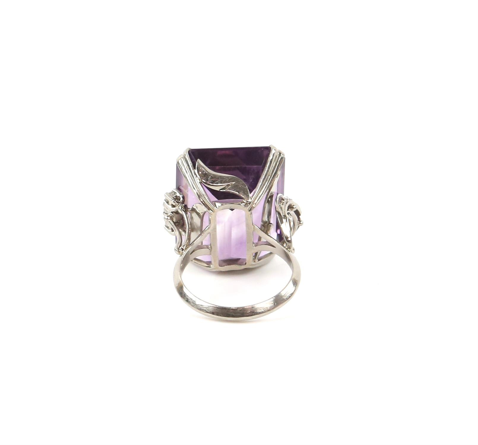 Amethyst and diamond cocktail ring, central rectangular cut amethyst, estimate weight 22.78 carats, - Image 4 of 7