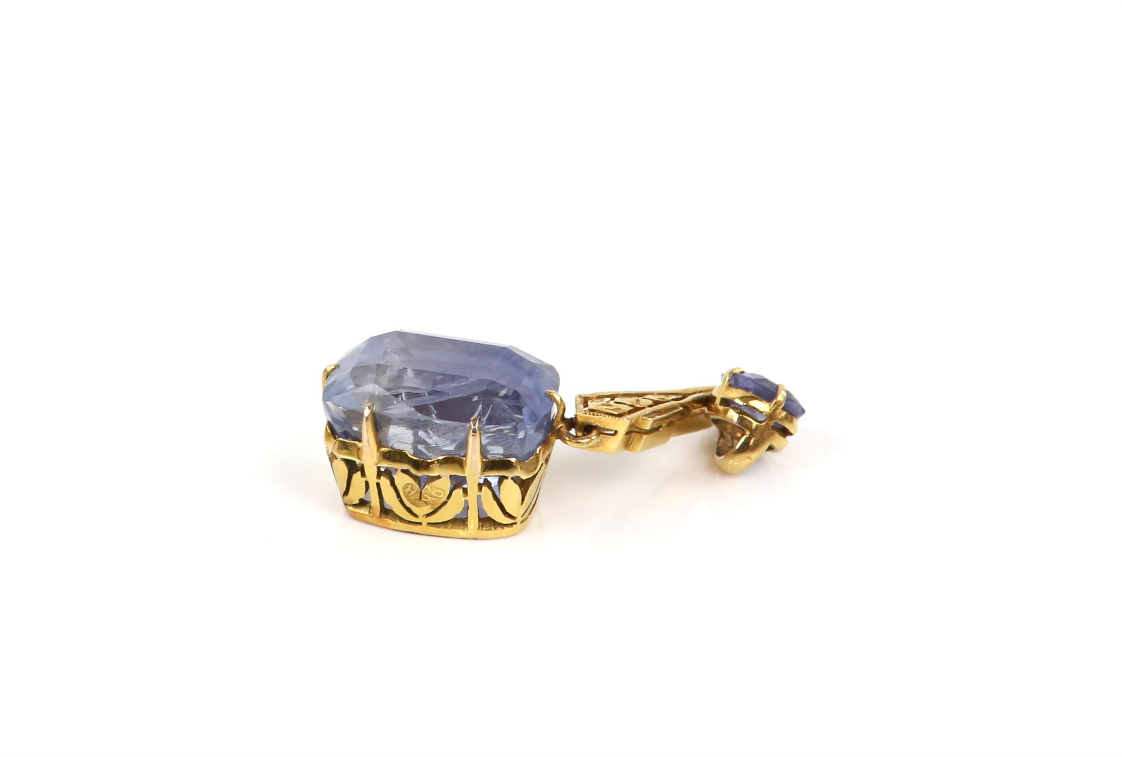 Sapphire drop pendant, principal light blue sapphire, estimated weight 12.99 carats, - Image 8 of 8