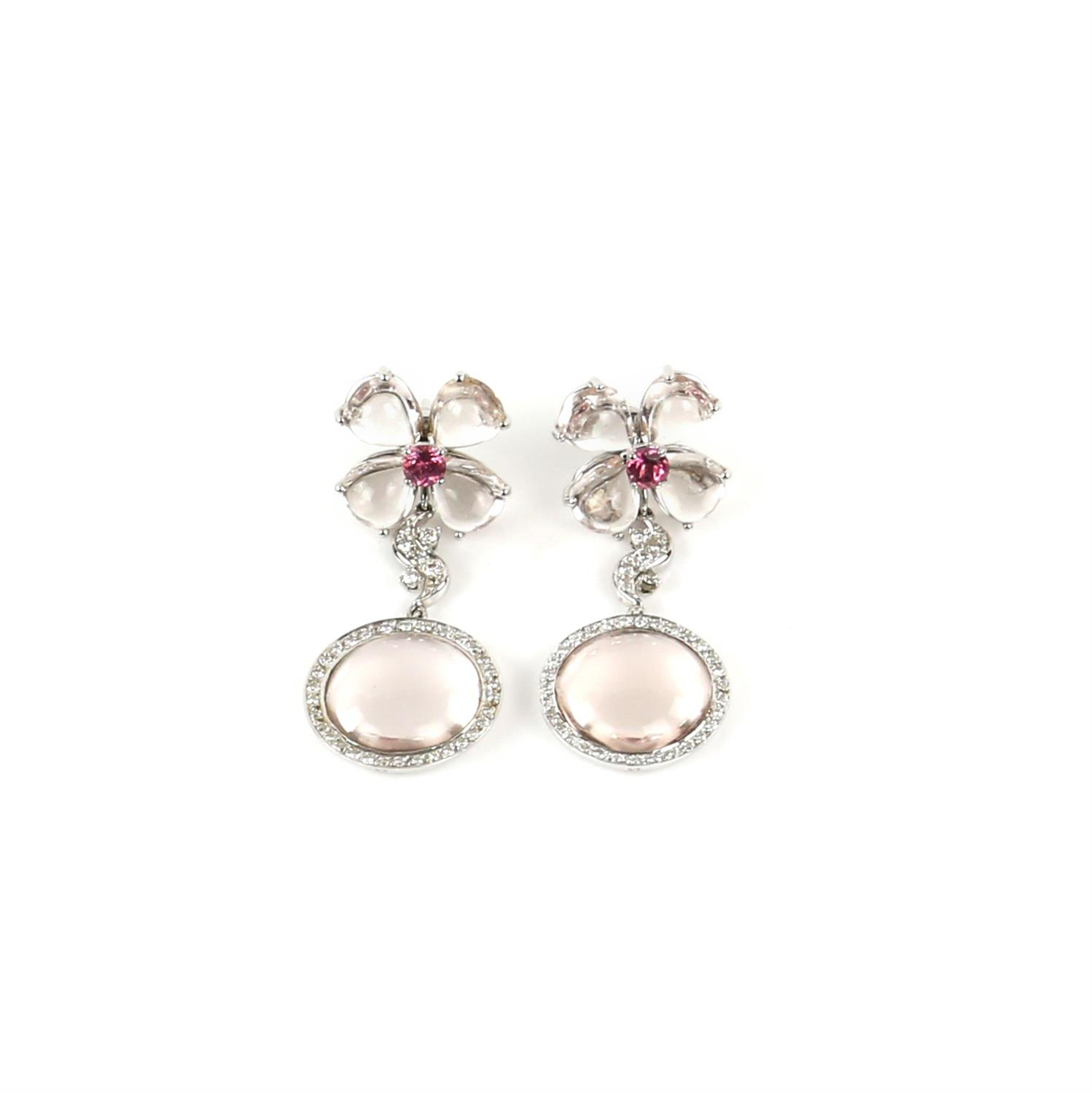 Pair of Gilan drop earrings, designed as a floral motif with a central synthetic pink spinel, - Image 2 of 5