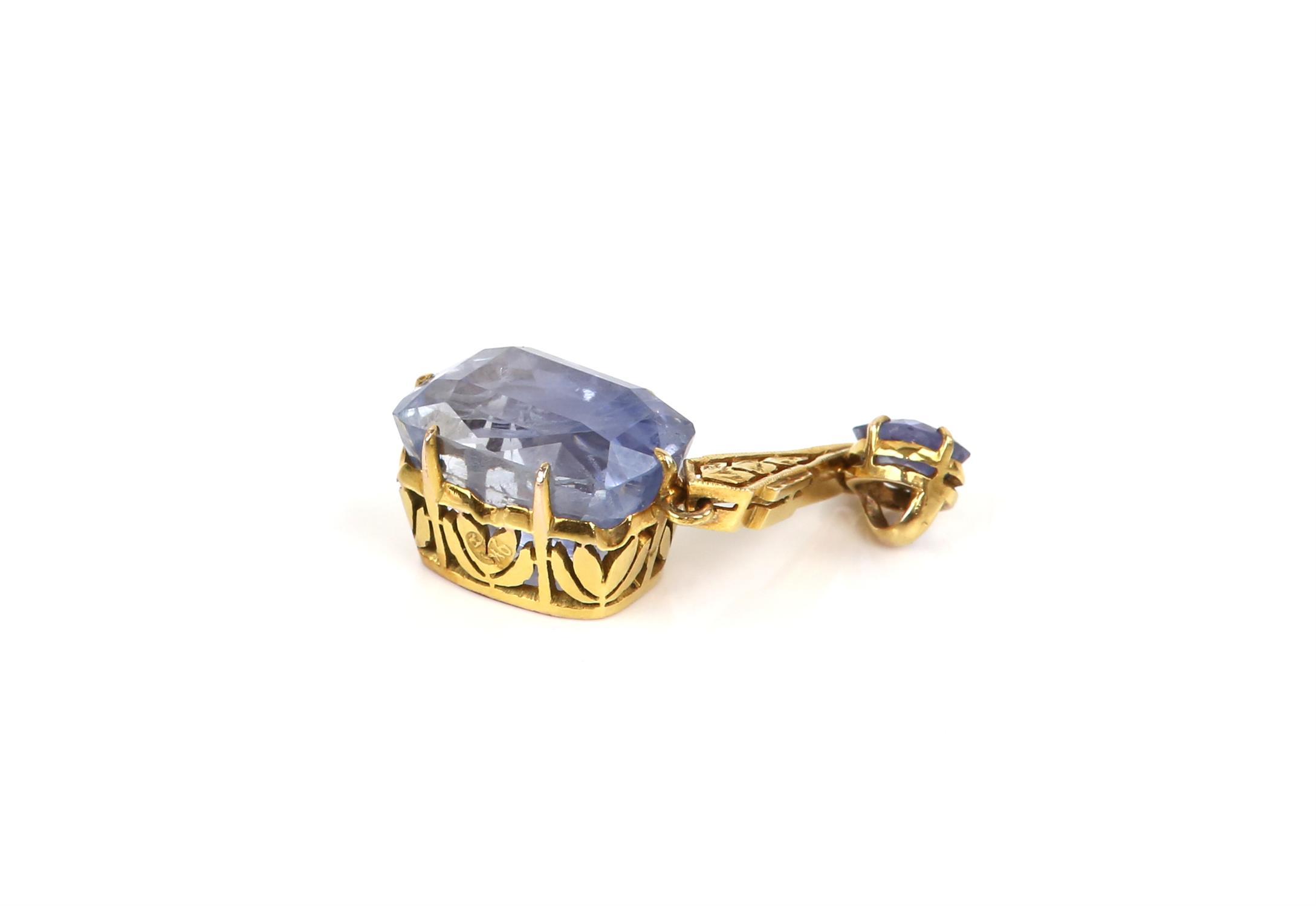 Sapphire drop pendant, principal light blue sapphire, estimated weight 12.99 carats, - Image 6 of 8
