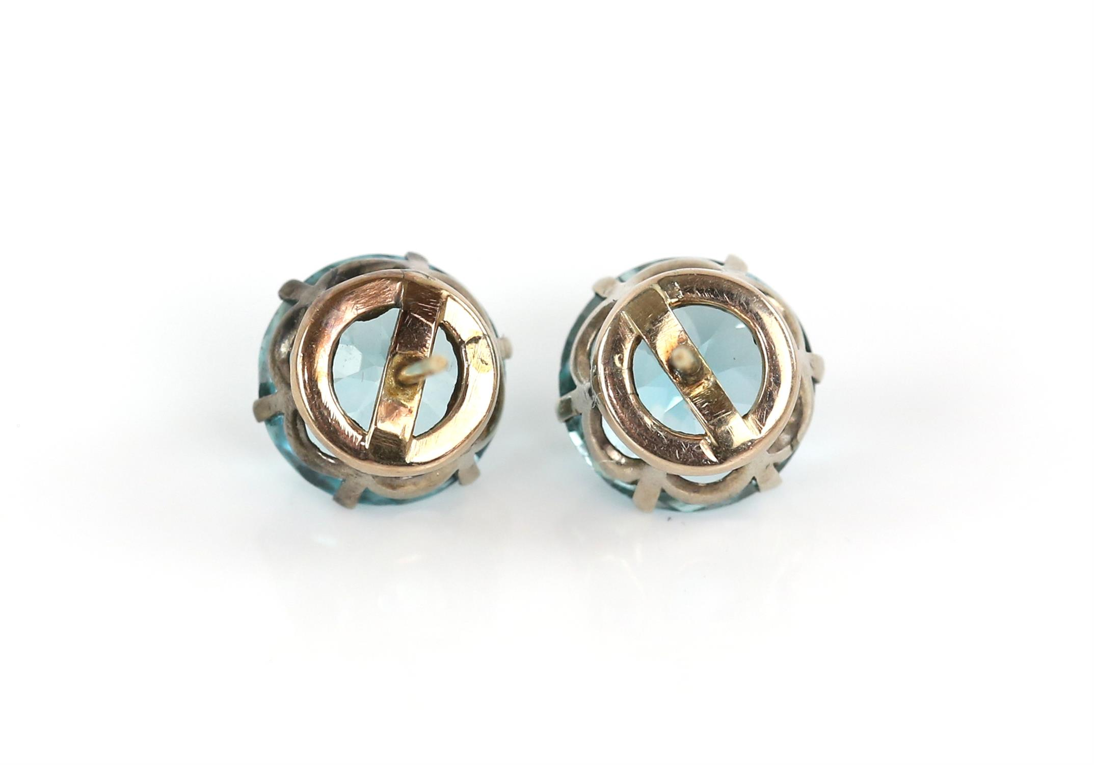 Early 19th Century blue Zircon earrings, old cut zircons, estimated total weight 14.79 carats, - Image 4 of 4