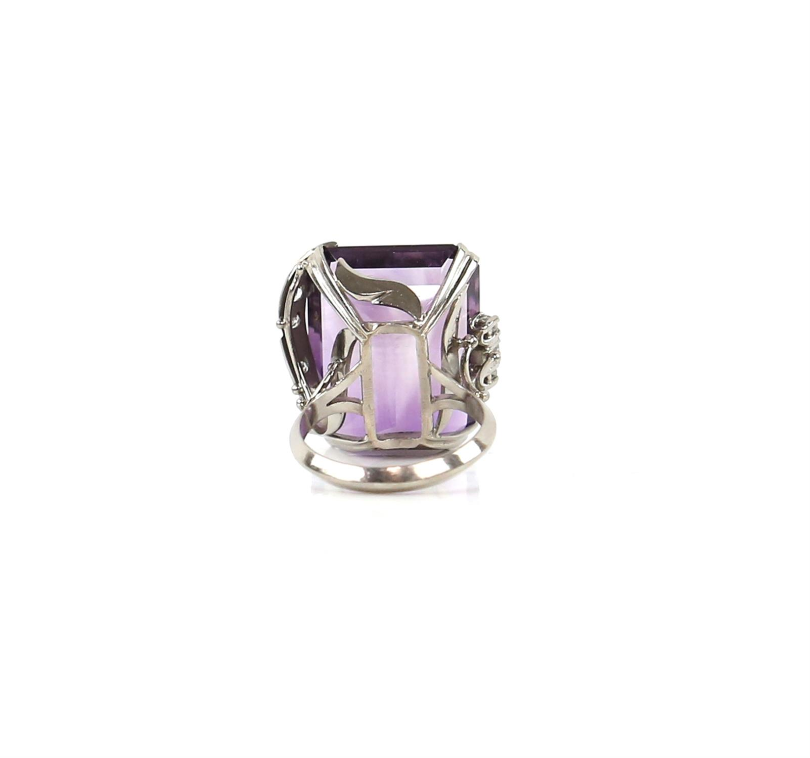Amethyst and diamond cocktail ring, central rectangular cut amethyst, estimate weight 22.78 carats, - Image 7 of 7