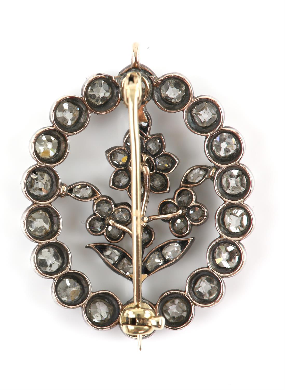 19th C floral diamond brooch, surround set with eighteen old Peruzzi cut diamonds brooch and twenty - Image 2 of 4