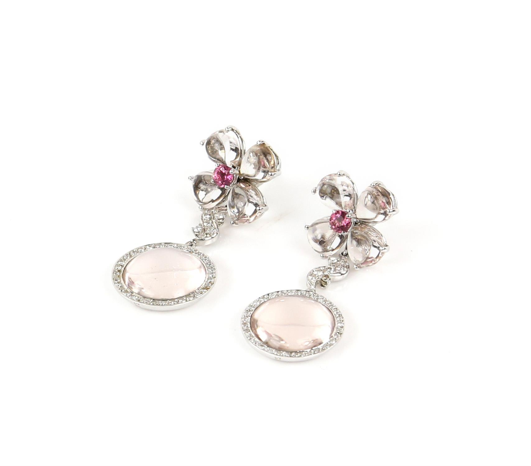 Pair of Gilan drop earrings, designed as a floral motif with a central synthetic pink spinel, - Image 5 of 5