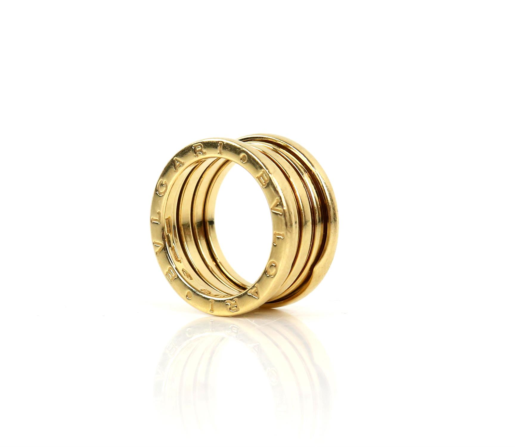 Bvlgari B.Zero1 four band ring, inside band marked Made in Italy 750, with Bvlgari makers mark,