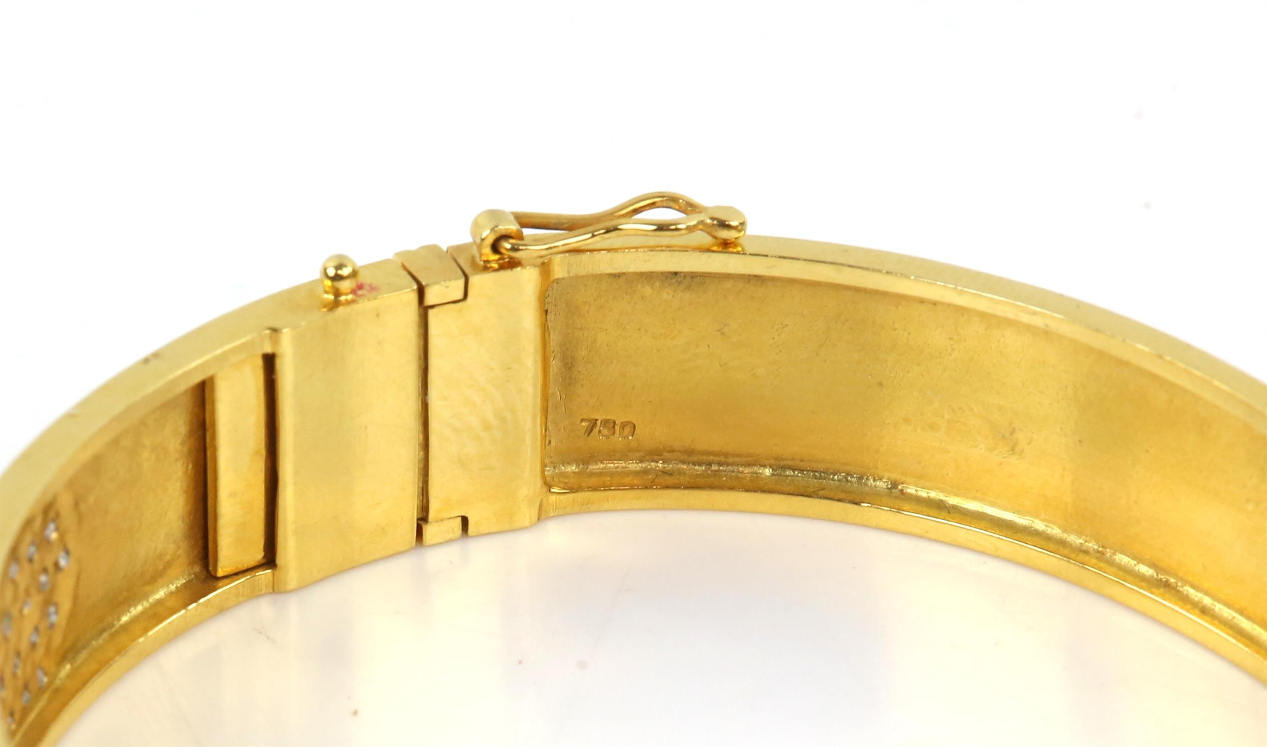 Modern diamond pave set oval hinged bangle, set with round brilliant cut diamonds, - Image 6 of 6
