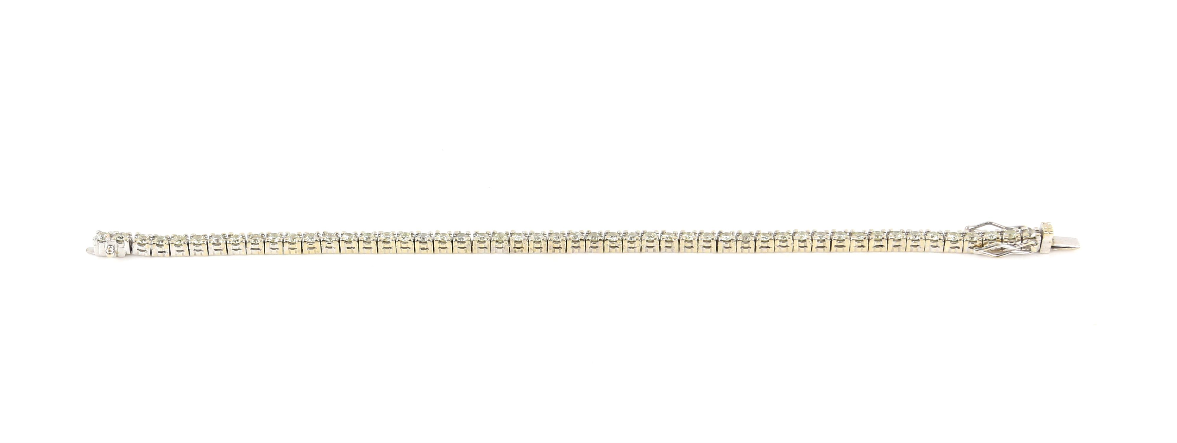 Diamond line bracelet, set with round brilliant cut diamonds, estimated total diamond weight 3. - Image 2 of 6