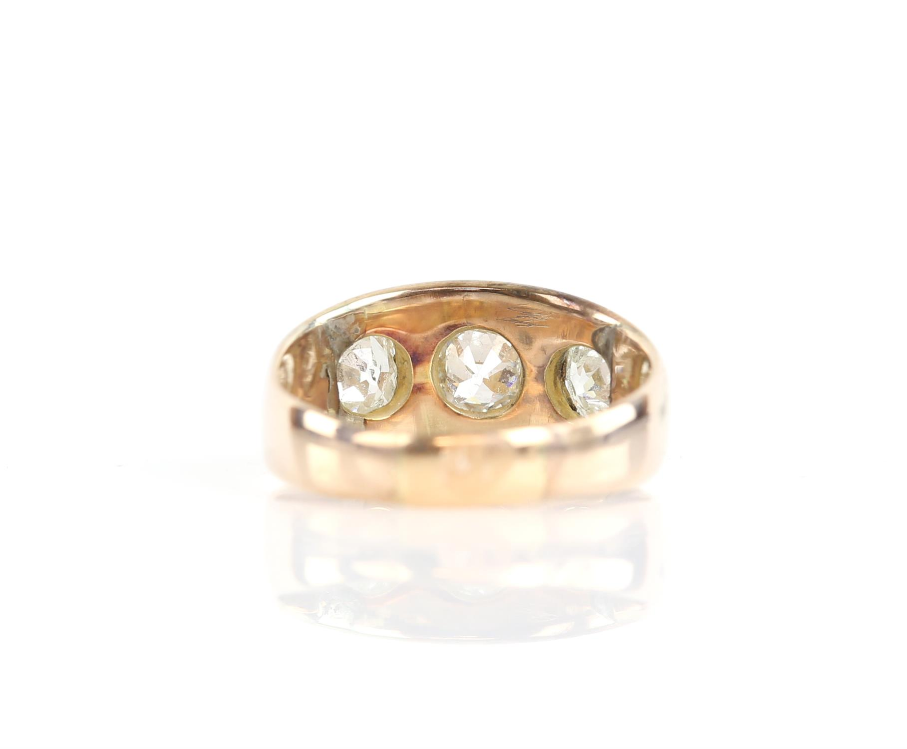 Victorian gypsy ring with three old mine cut diamonds, central diamond is 0.52 carat and the side - Image 3 of 4