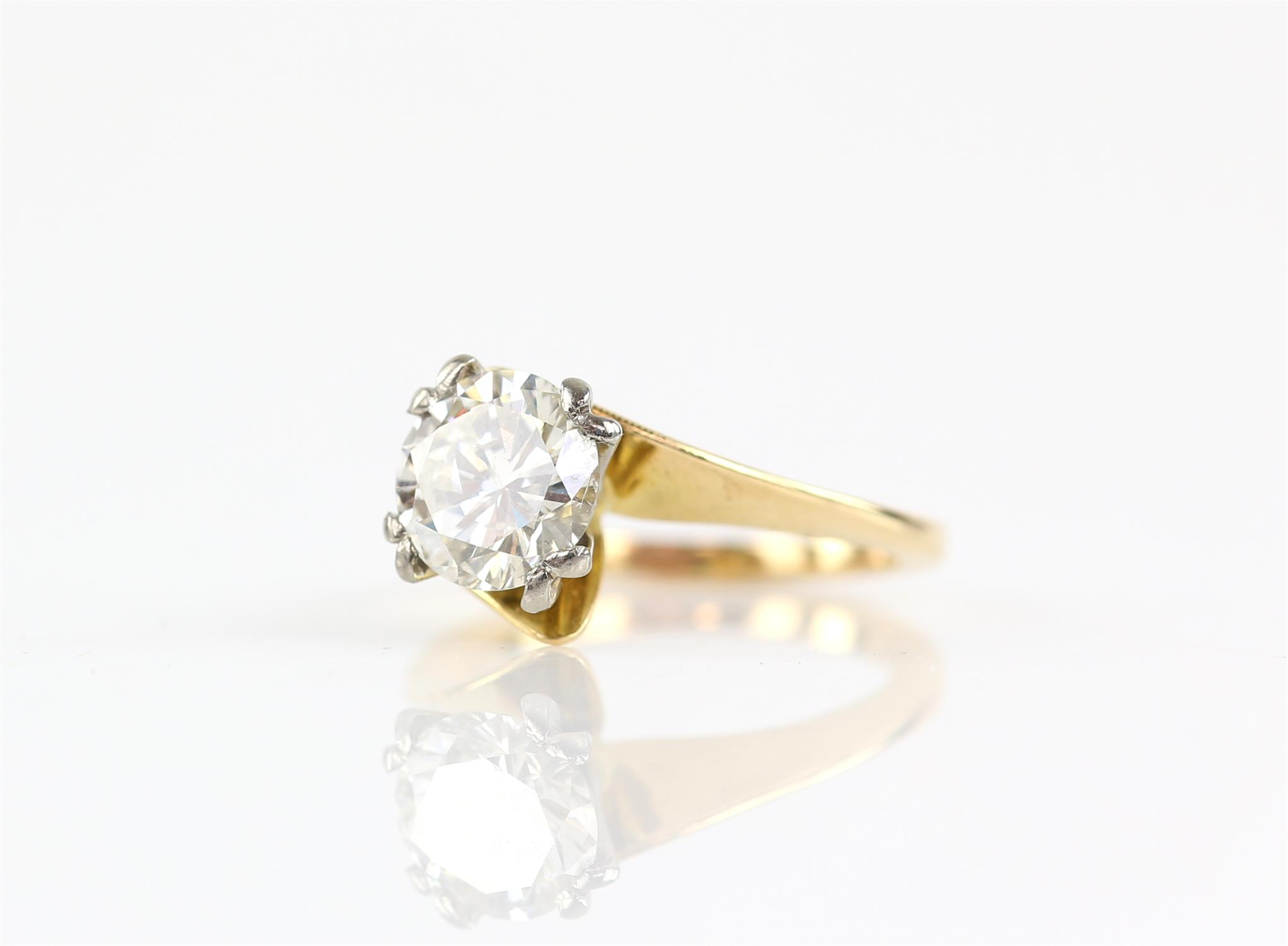 Single stone diamond ring, round brilliant cut diamond weighing an estimated 2.02 carats, - Image 2 of 6