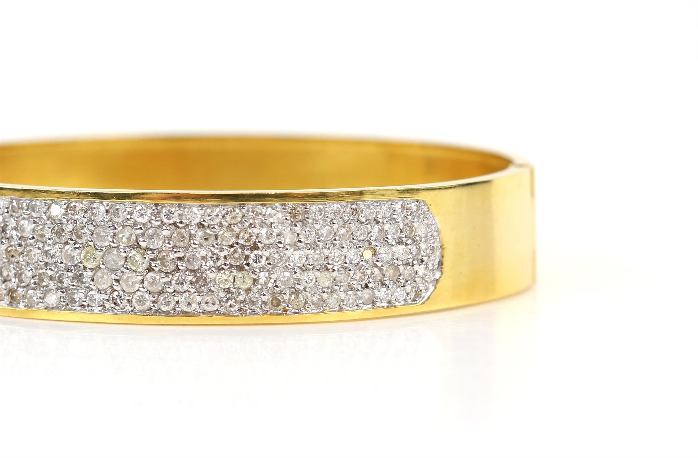 Modern diamond pave set oval hinged bangle, set with round brilliant cut diamonds, - Image 2 of 6